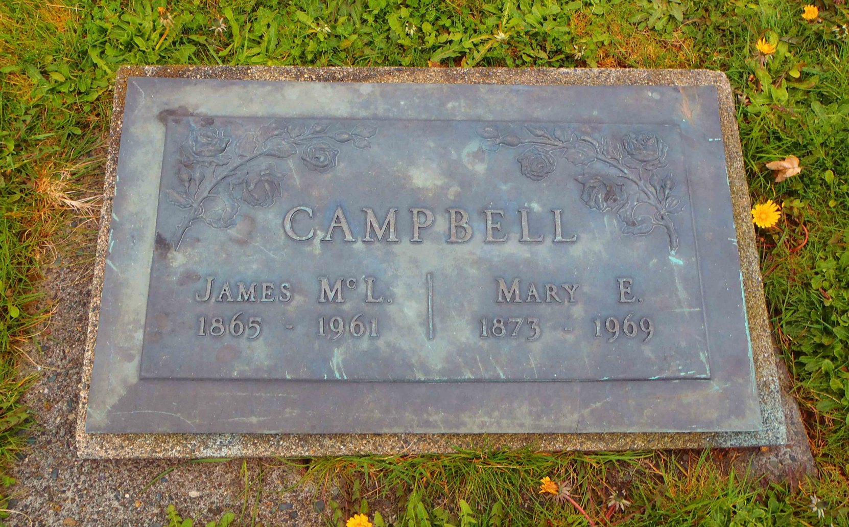 James McLeod Campbell, headstone on grave, Mountain View Cemetery, North Cowichan