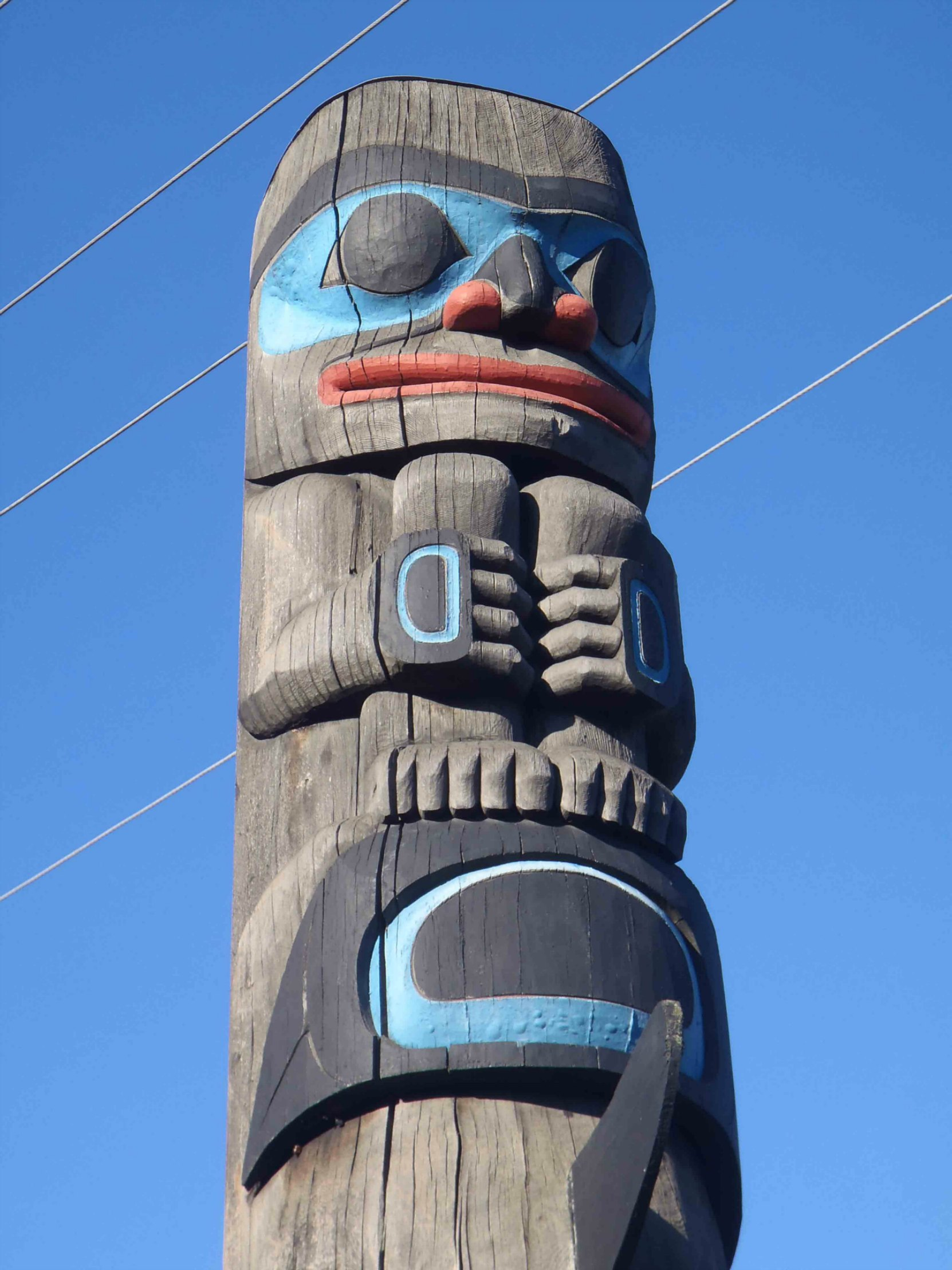 Chief's Pole, Human Child figure, Government Street at Kenneth Street, Duncan, B.C.