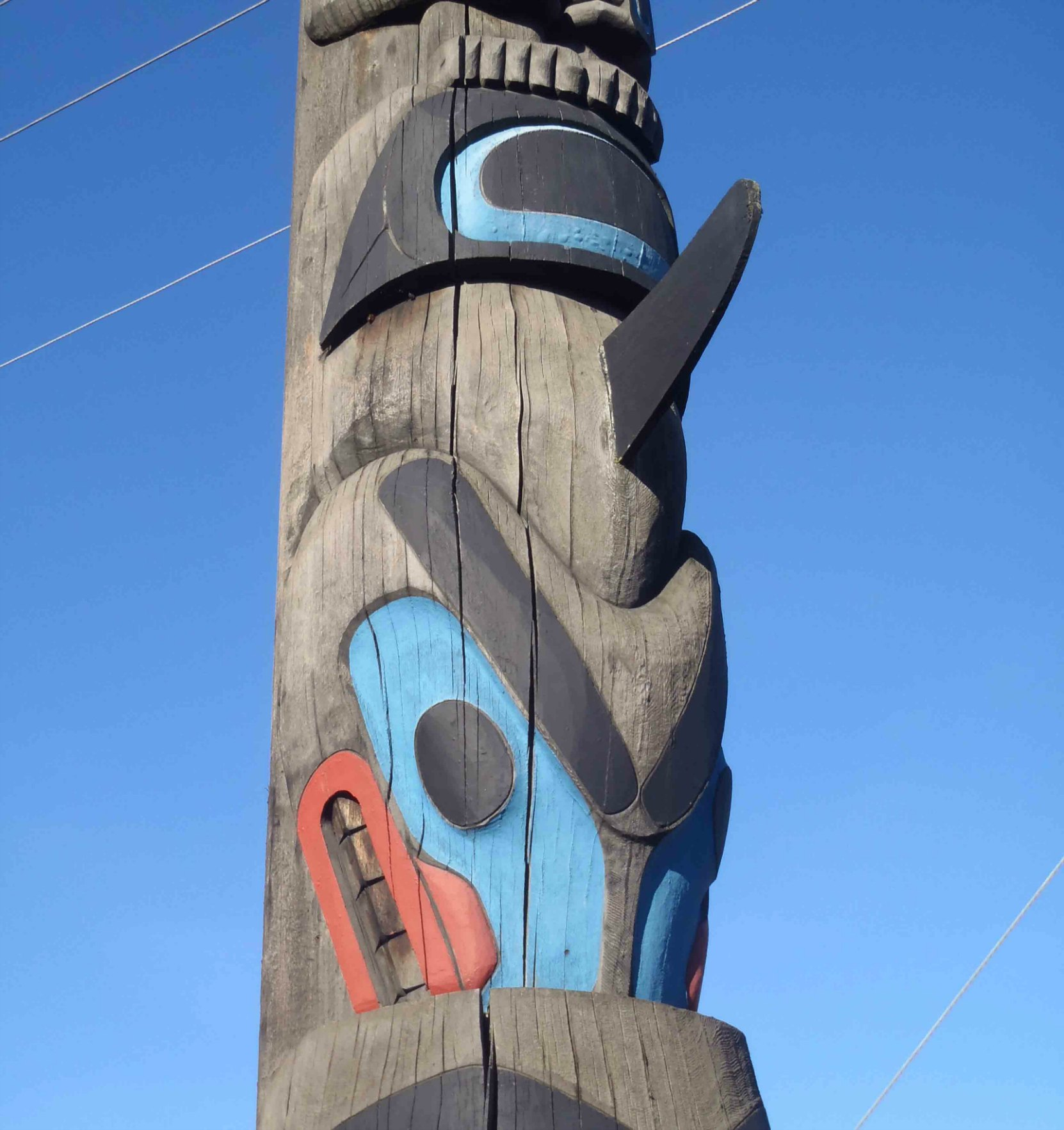 Chief's Pole, Killer Whale figure, Government Street at Kenneth Street, Duncan, B.C.