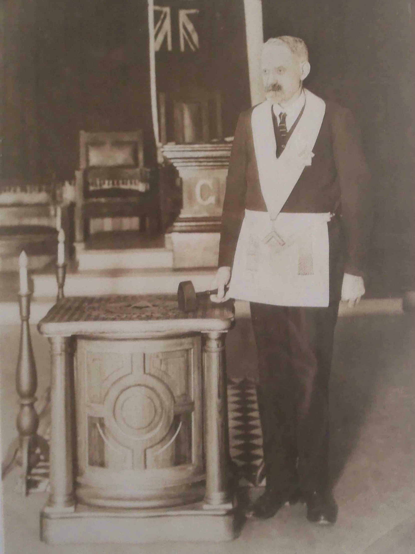 Christopher Dobson in Masonic regalia, circa 1928 (Photo courtesy of Temple Lodge, No.33 A.F.&A.M.)