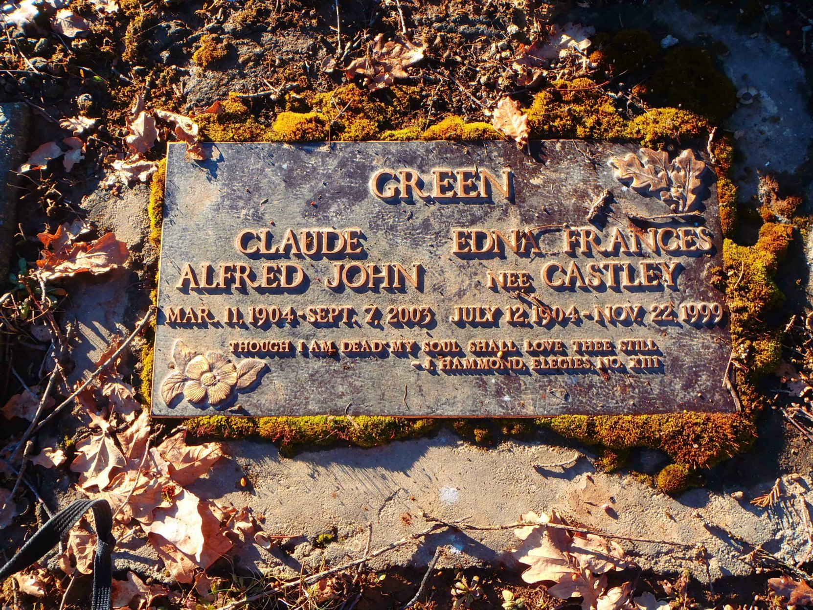 Grave marker for Claude Green and Edna Green, St. Mary's Somenos cemetery, Somenos Road, North Cowichan
