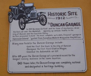 Historic Plaque on the Duncan Garage building