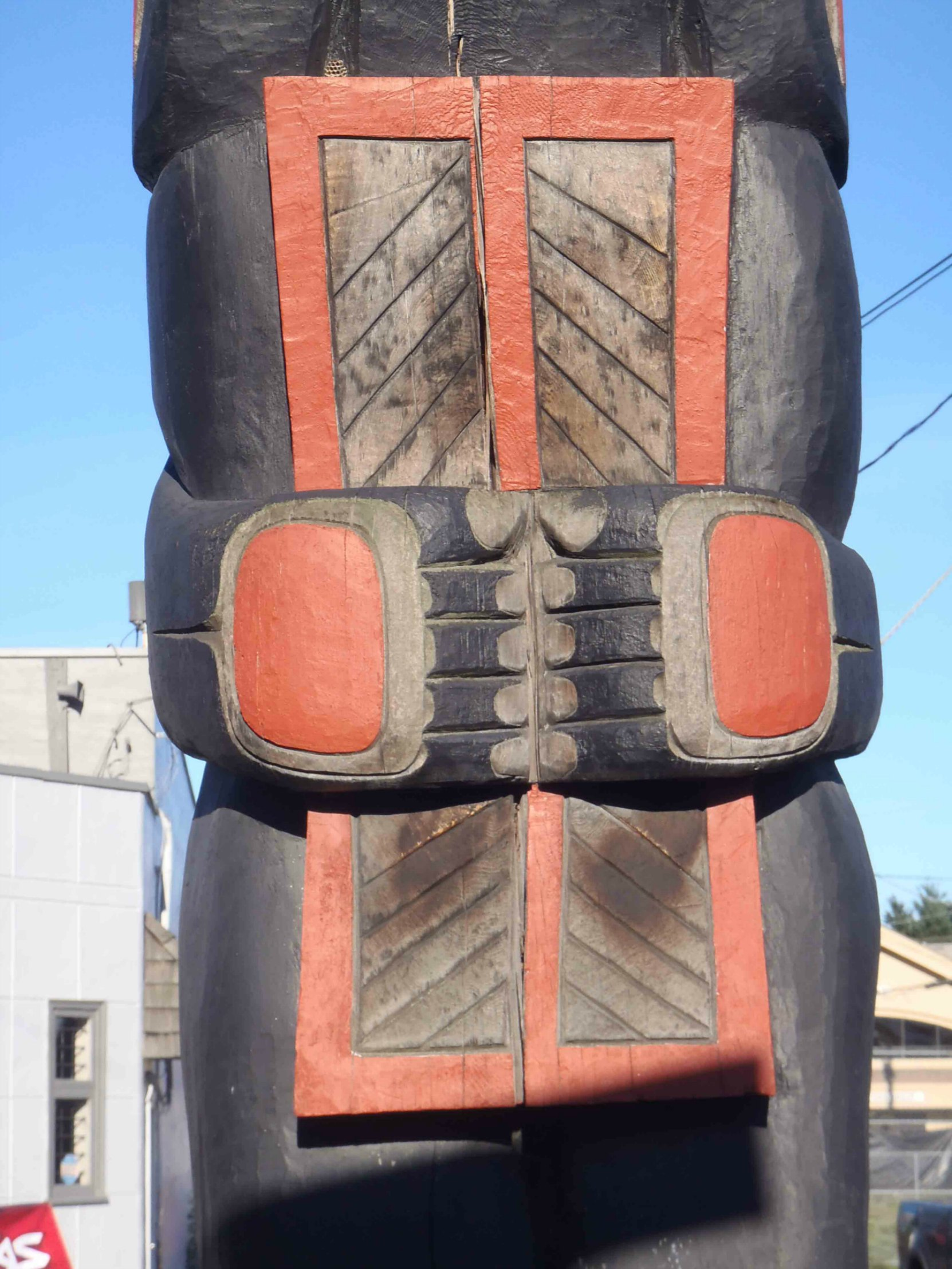 Dzunuk'wa pole, Copper detail, Government Street at Kenneth Street, Duncan, B.C.