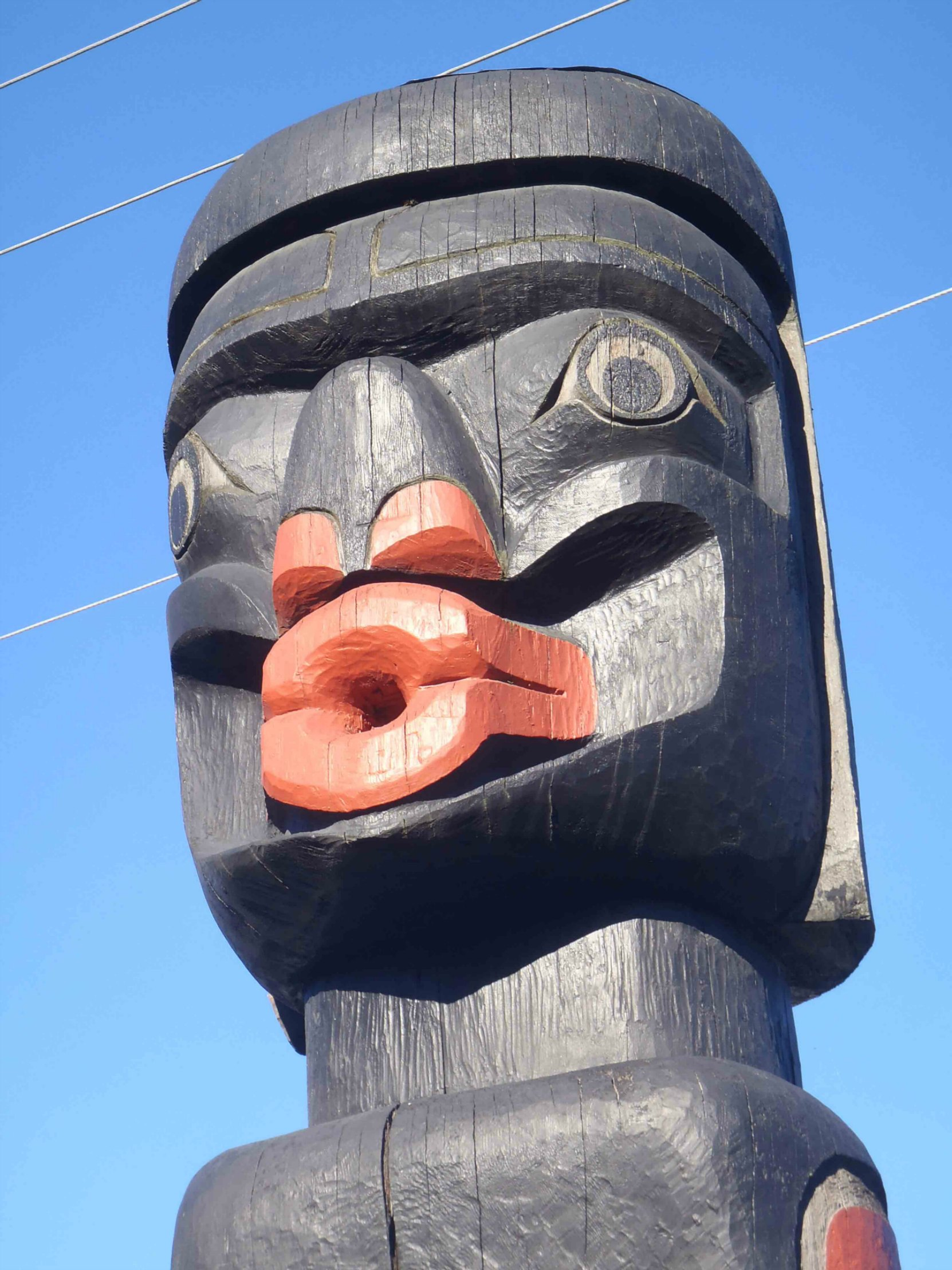 Dzunuk'wa pole, Wild Woman figure, face detail, Government Street at Kenneth Street, Duncan, B.C.
