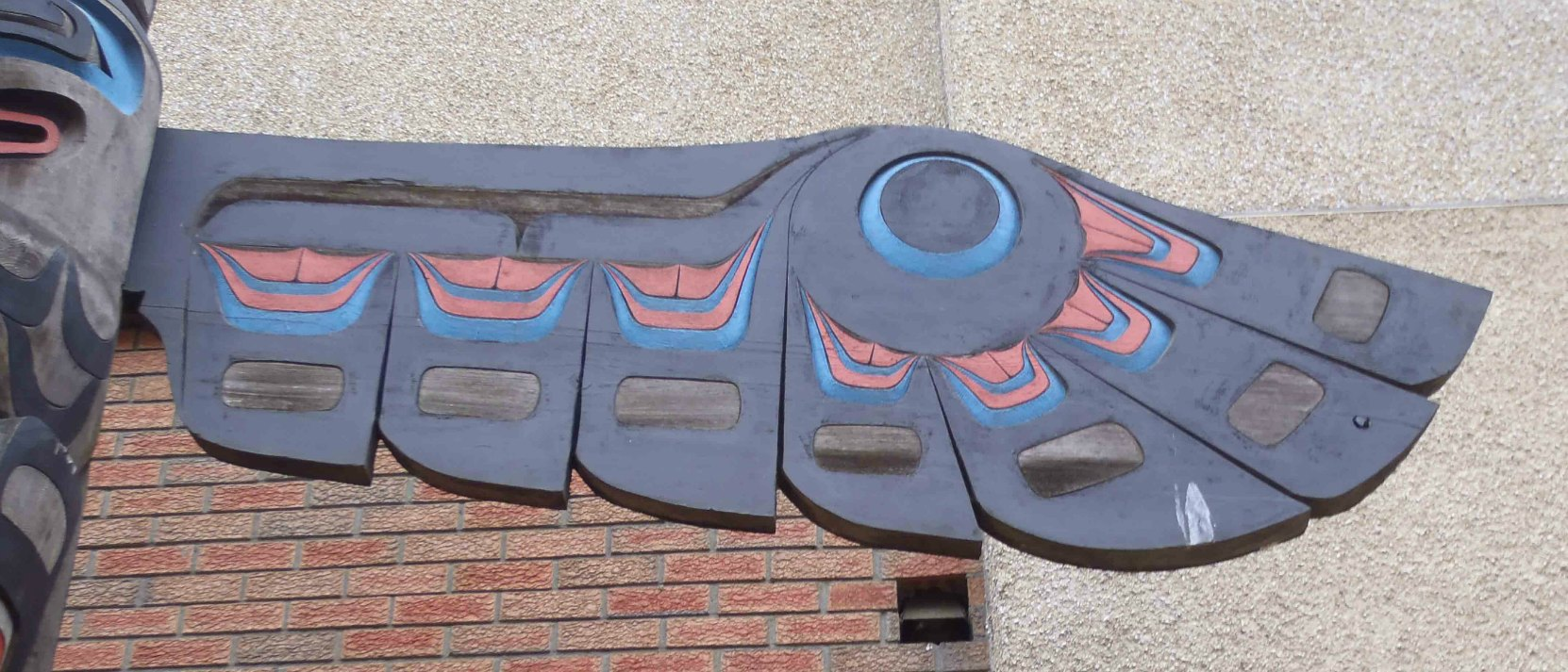 Eagle Pole, Canada Avenue, Duncan, B.C. Wing detail