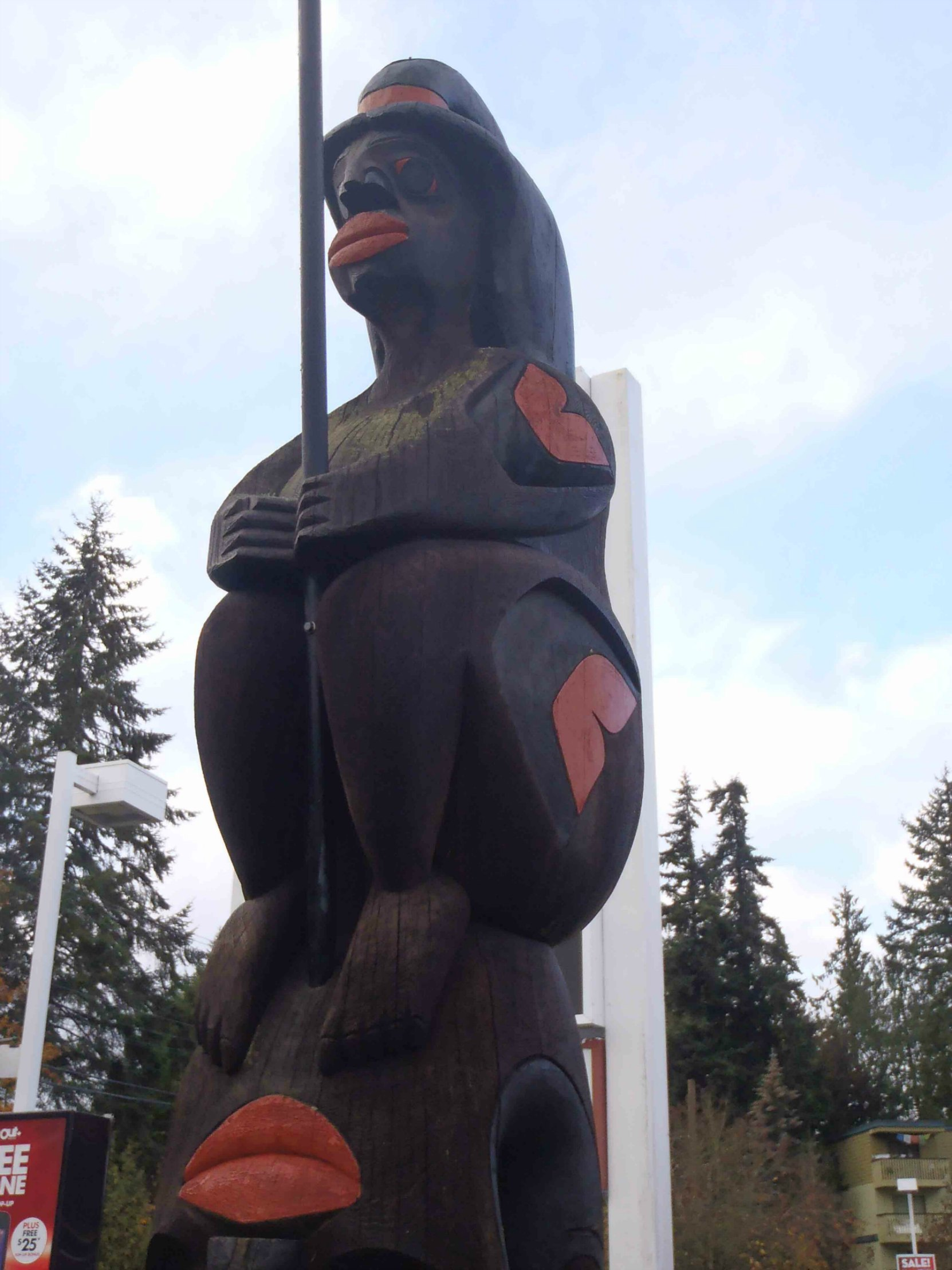 Fisherman's Pole, Fisherman figure, Government Street at College Street, Duncan, B.C.