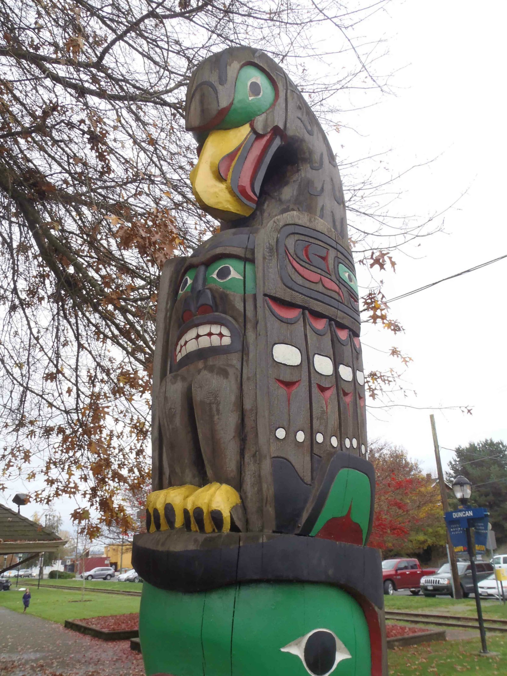 Friendship Pole, Eagle figure, Charles Hoey Park, Duncan, B.C.