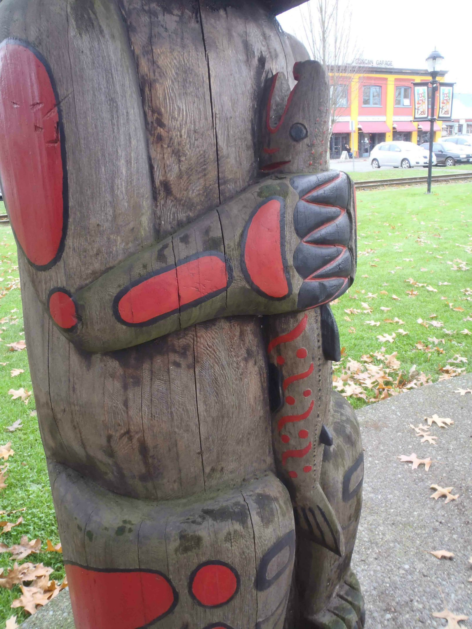 Friendship Pole, Salmon figure, Charles Hoey Park, Duncan, B.C.
