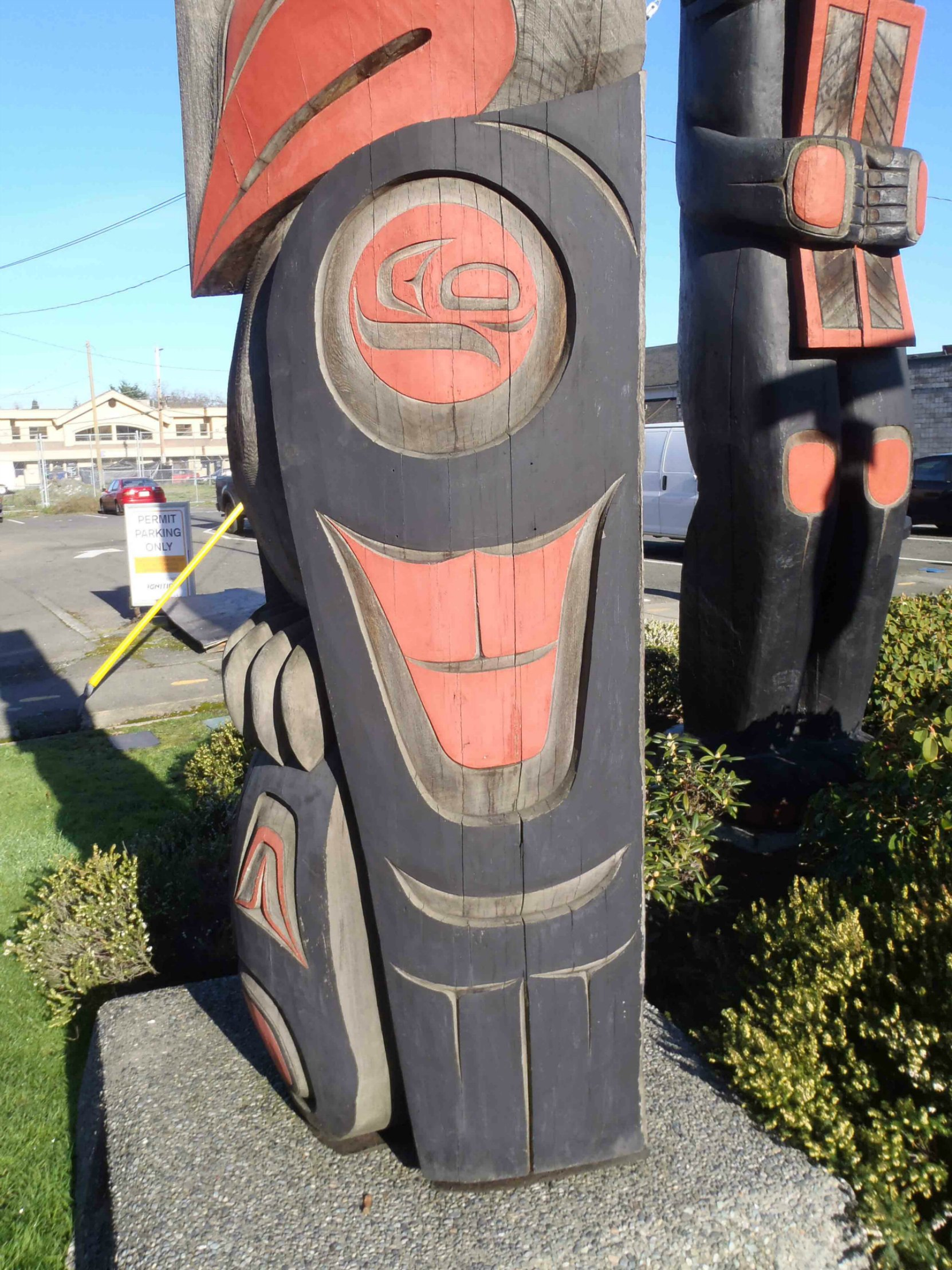 The Guardians pole, Eagle figure, wing detail, Government Street at Kenneth Street, Duncan, B.C.
