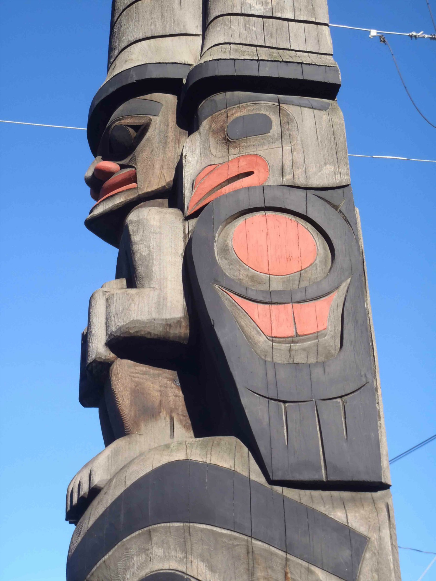 The Guardians pole, Guardians figures, Government Street at Kenneth Street, Duncan, B.C.