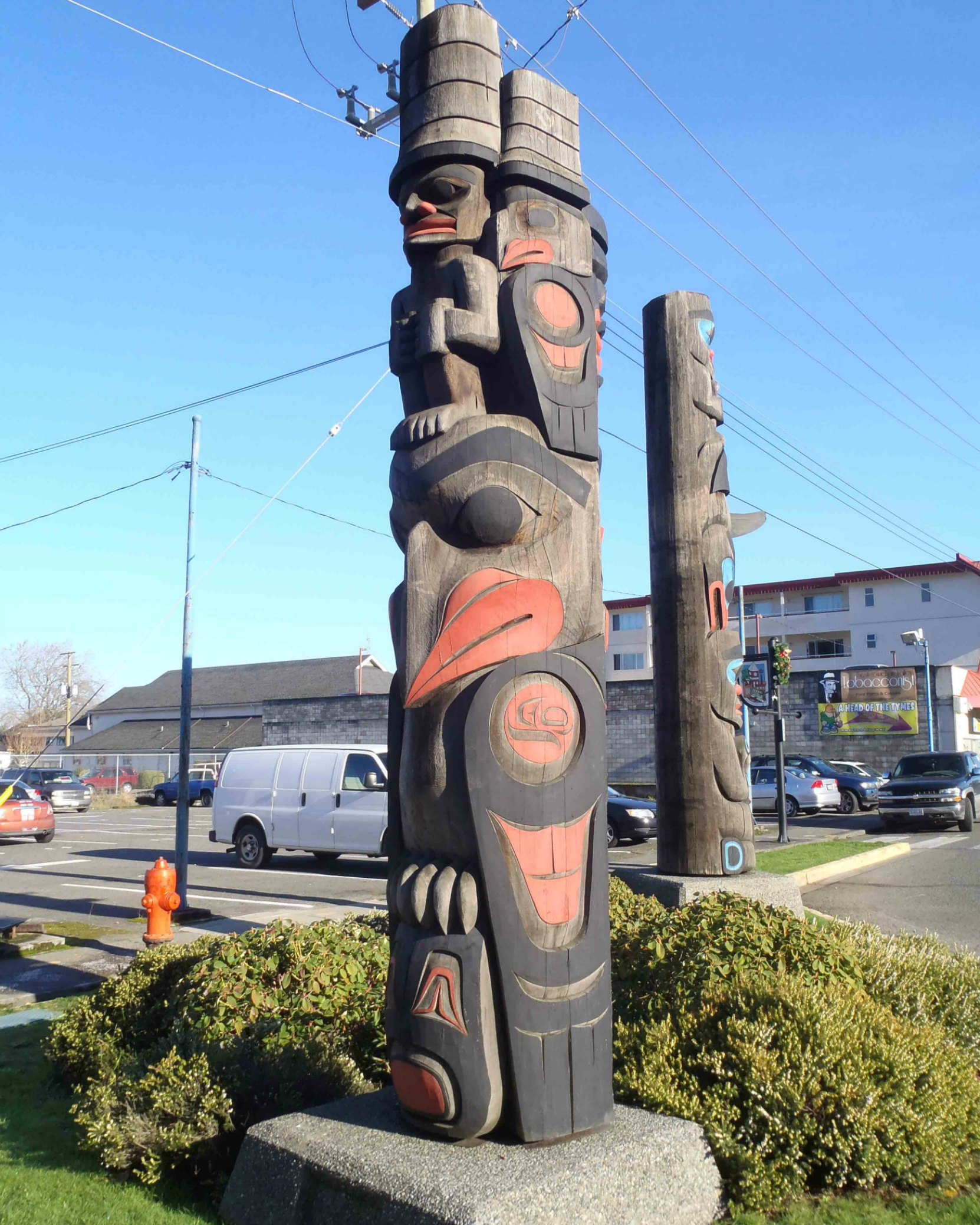 The Guardians pole, Government Street at Kenneth Street, Duncan, B.C.