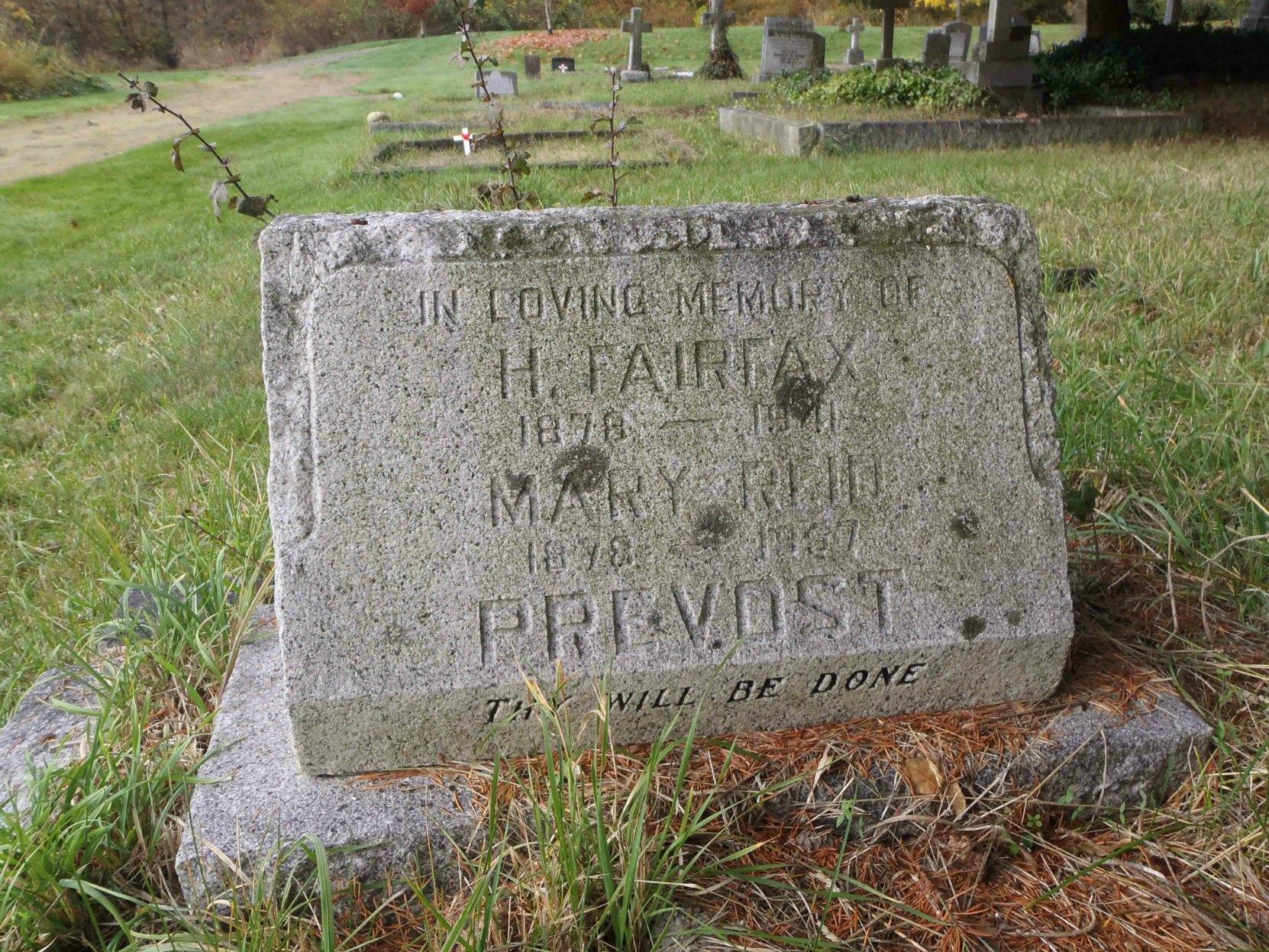 Harold Fairfax Prevost and Mary Reid Prevost grave, St. Peter's Quamichan cemetery