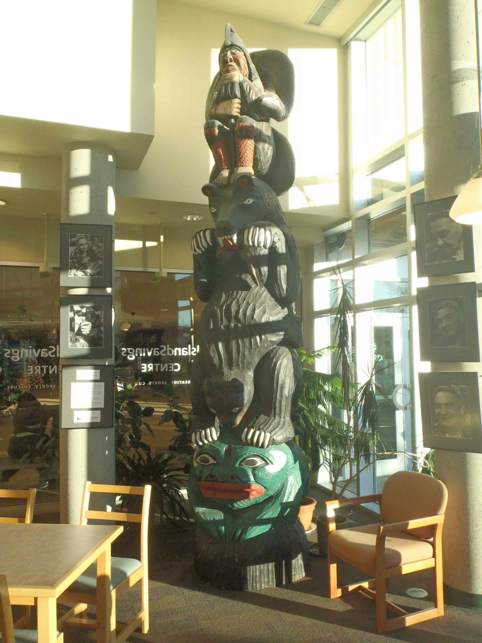 Provincial Route of the Totems Salish Bear pole, displayed in Vancouver Island Public Library, Cowichan Branch.