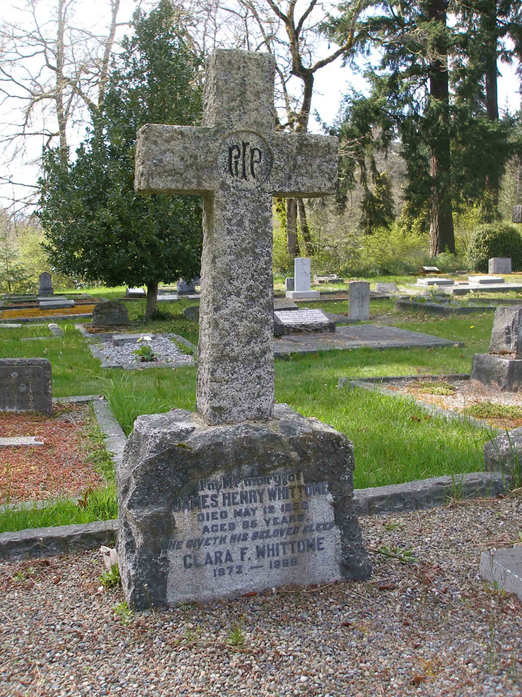 The grave of James Henry Whittome (1872-1936) and Clara Whittome in St. Peter's Quamichan cemetery