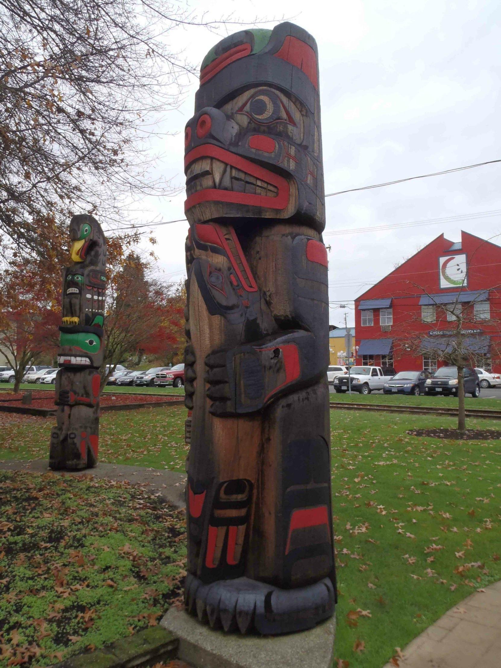 Kwagu'l Bear Holding A Seal, Charles Hoey Park, Canada Avenue, Duncan, B.C.