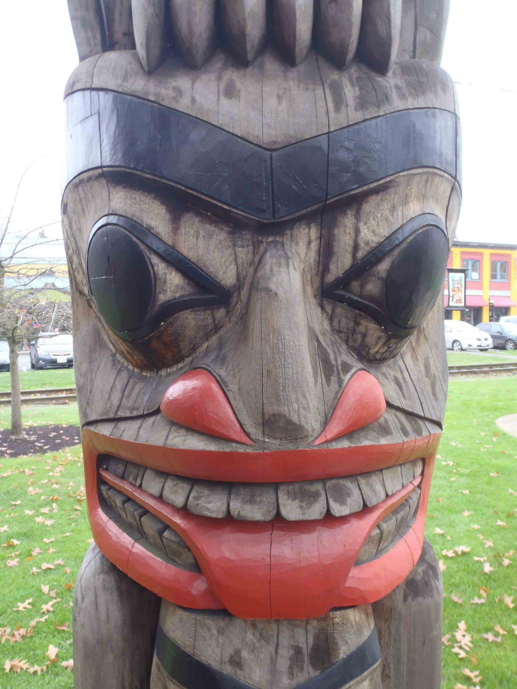 Owl Pole, Bear figure, Charles Hoey Park, Canada Avenue, Duncan, B.C.