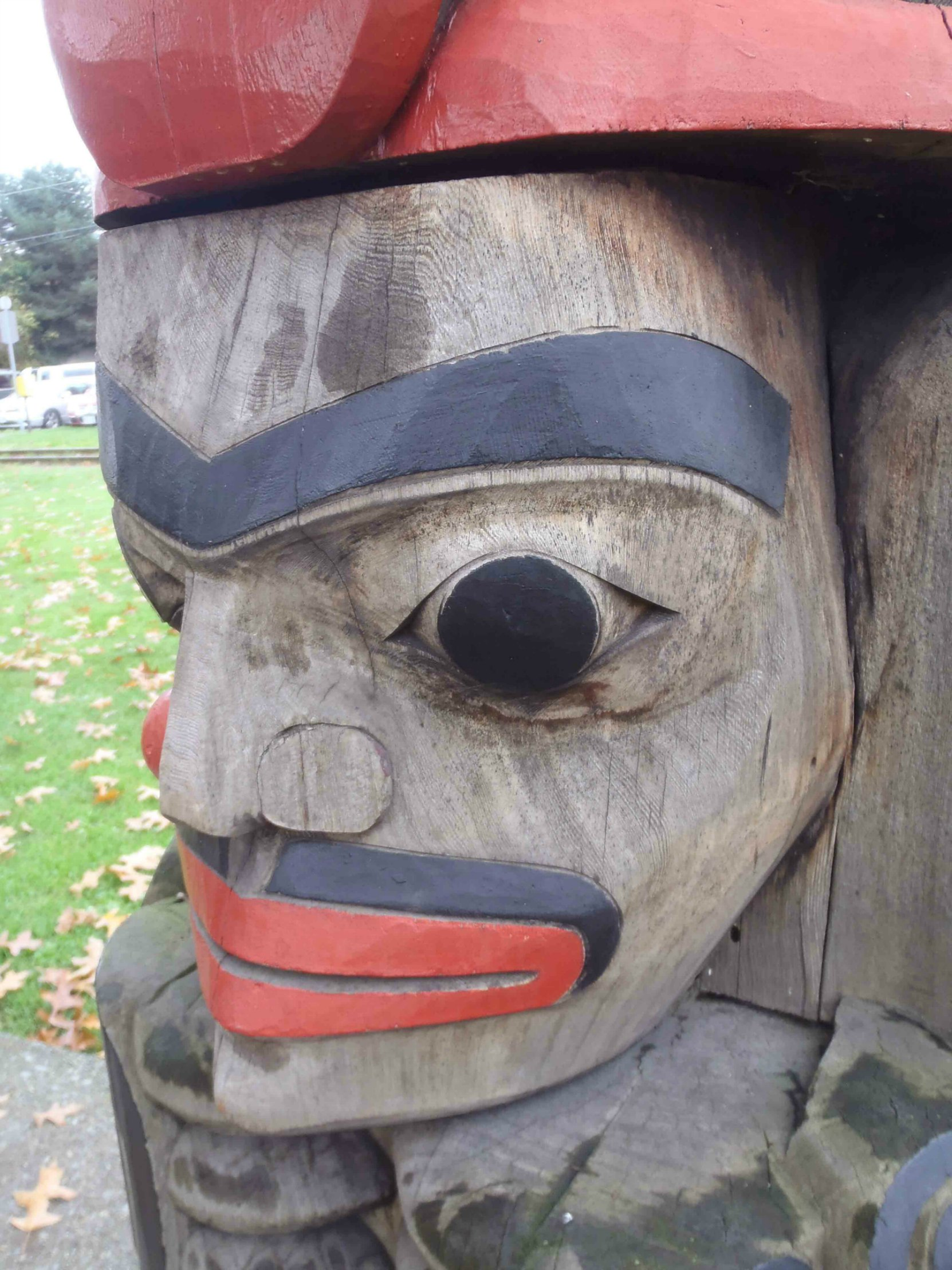 Owl Pole, Human figure, Charles Hoey Park, Canada Avenue, Duncan, B.C.