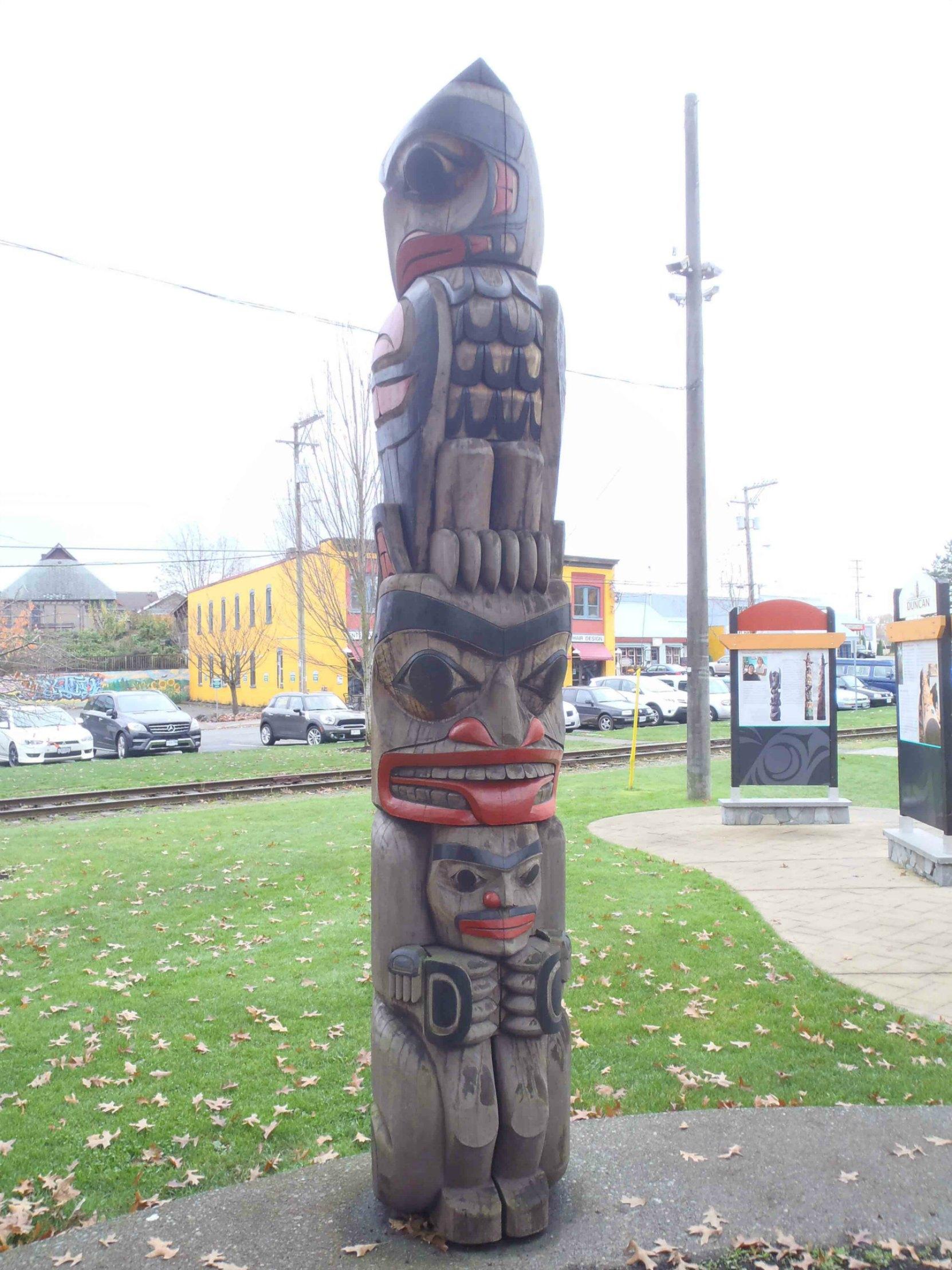 Owl Pole, Charles Hoey Park, Canada Avenue, Duncan, B.C.