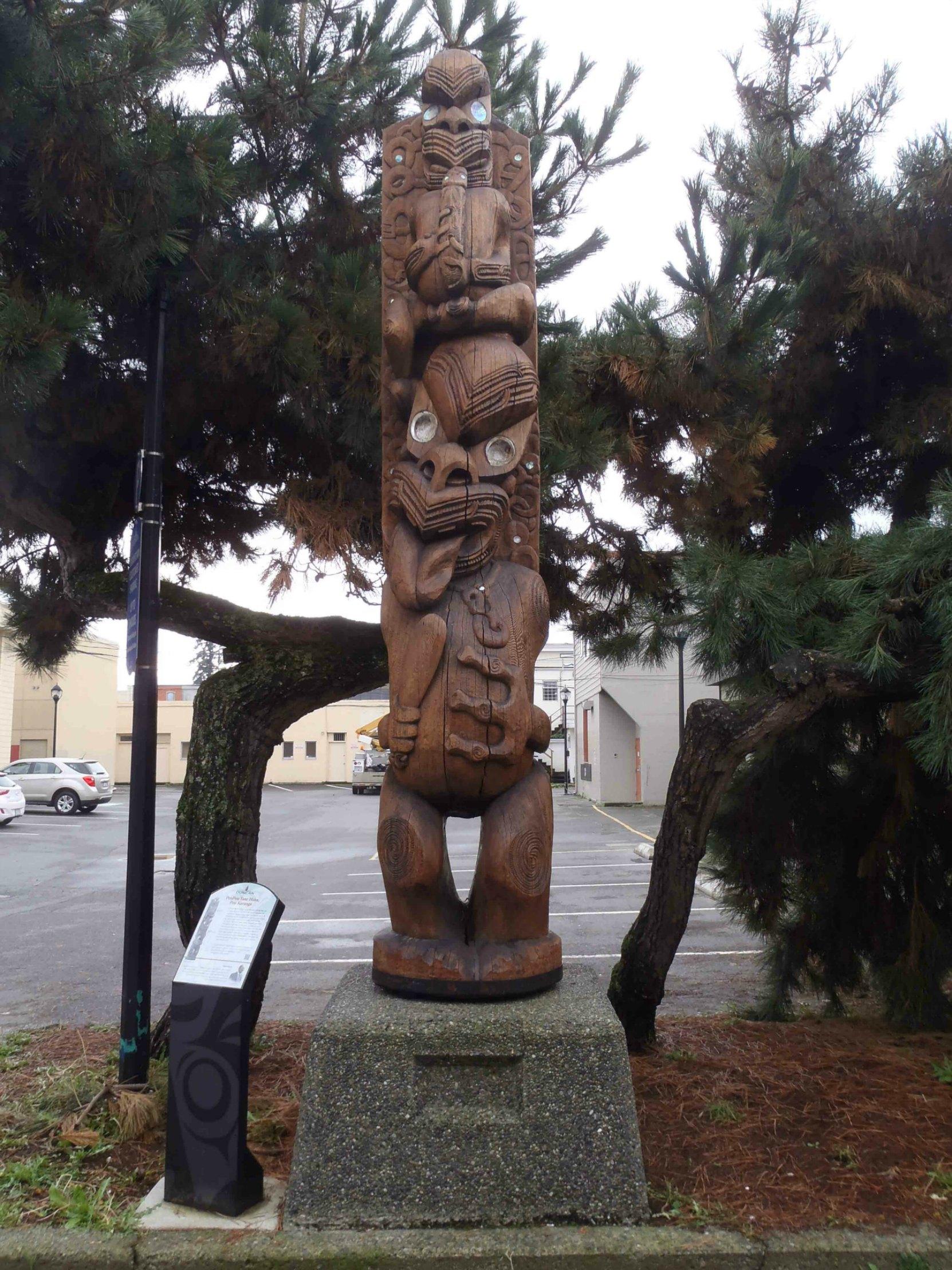 PouPou Tane Hiira Pou Karanga, Kenneth Street, Duncan, B.C.