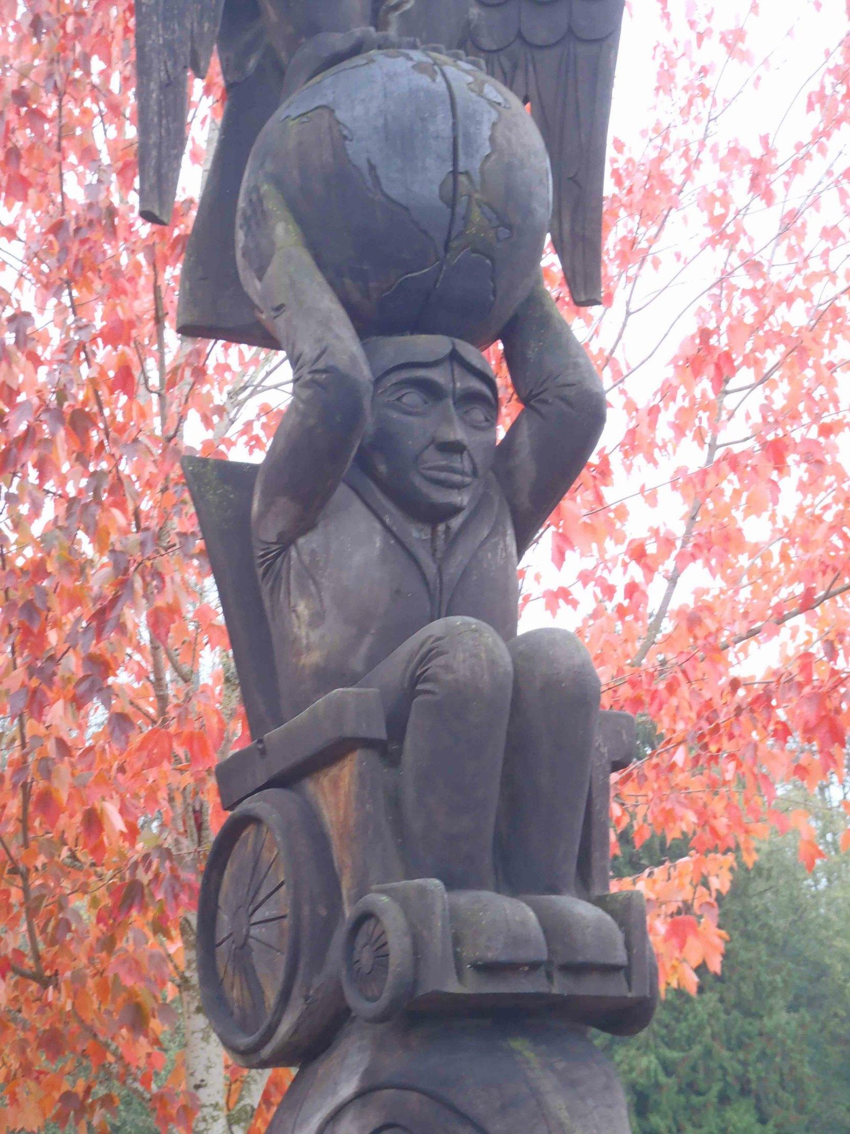 Rick Hansen Man In Motion totem pole, Centennial Park, Duncan, B.C.