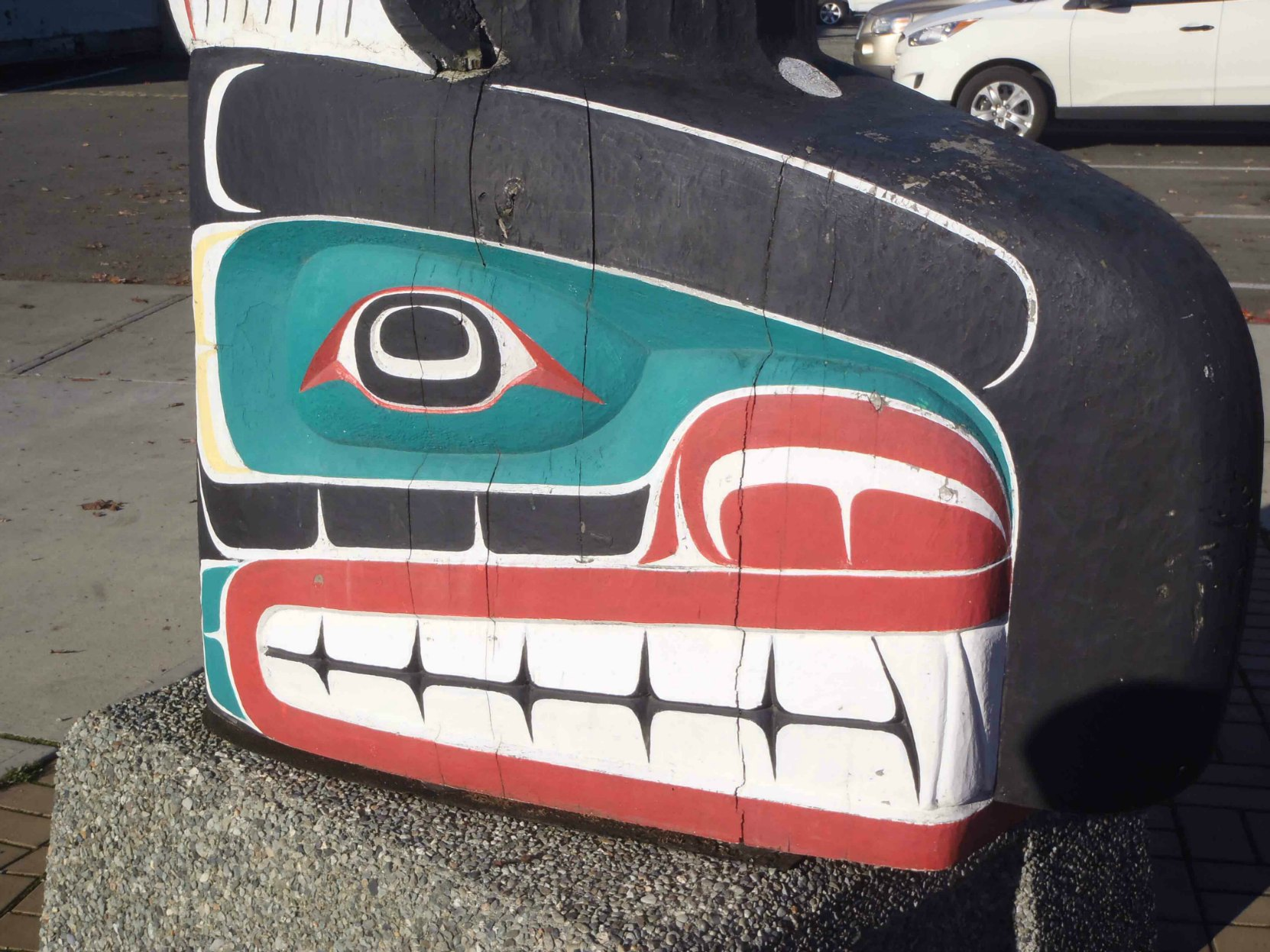Sea and Sky pole, Killer Whale figure detail, Government Street at Station Street, Duncan, B.C.