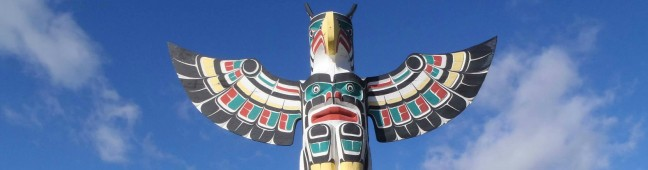 Sea and Sky totem pole, downtown Duncan, B.C. Top of pole showing Thunderbird