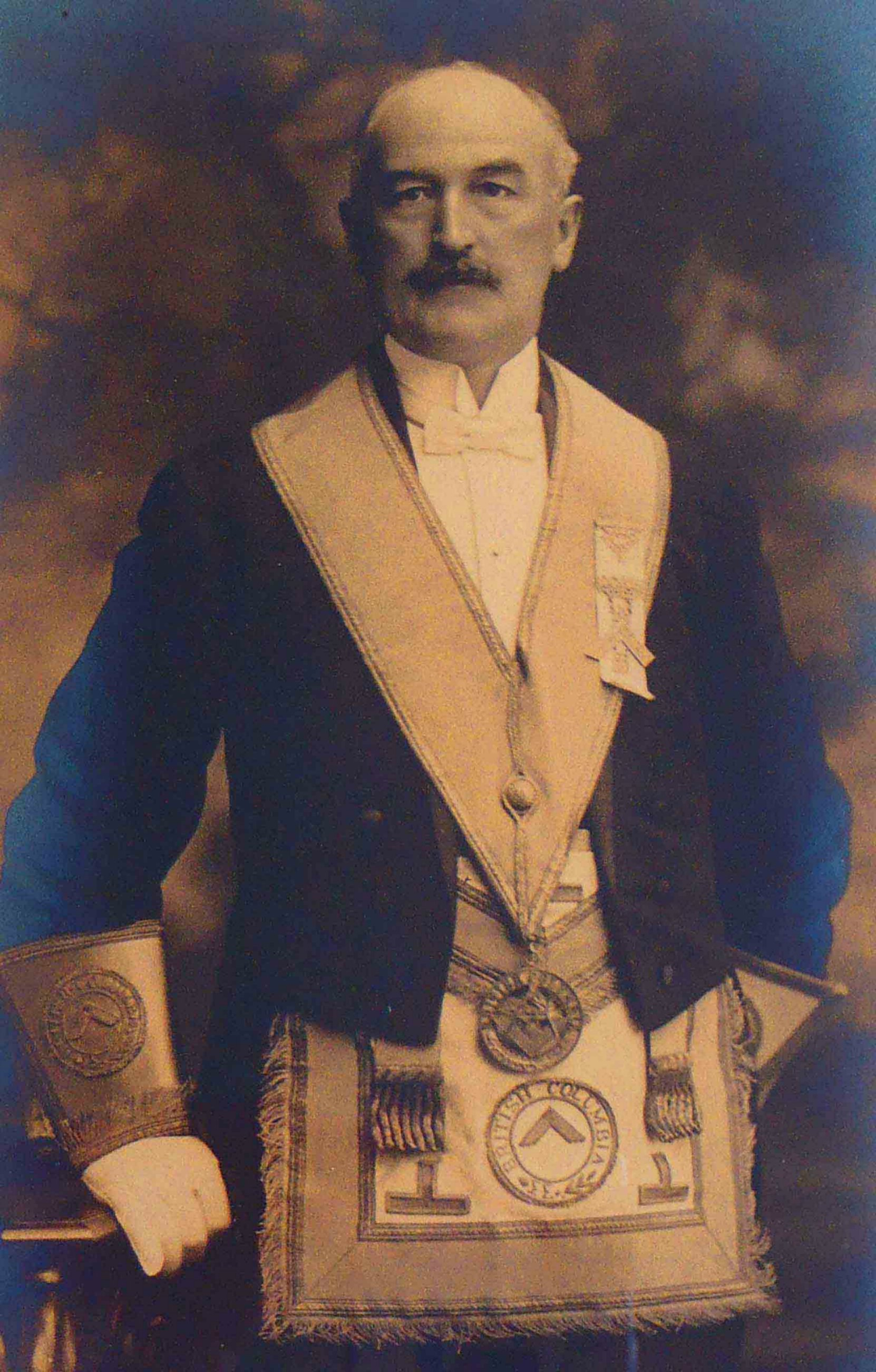Thomas Pitt in Masonic regalia, circa 1918 (Photo courtesy of Temple Lodge, No.33 A.F.&A.M.)