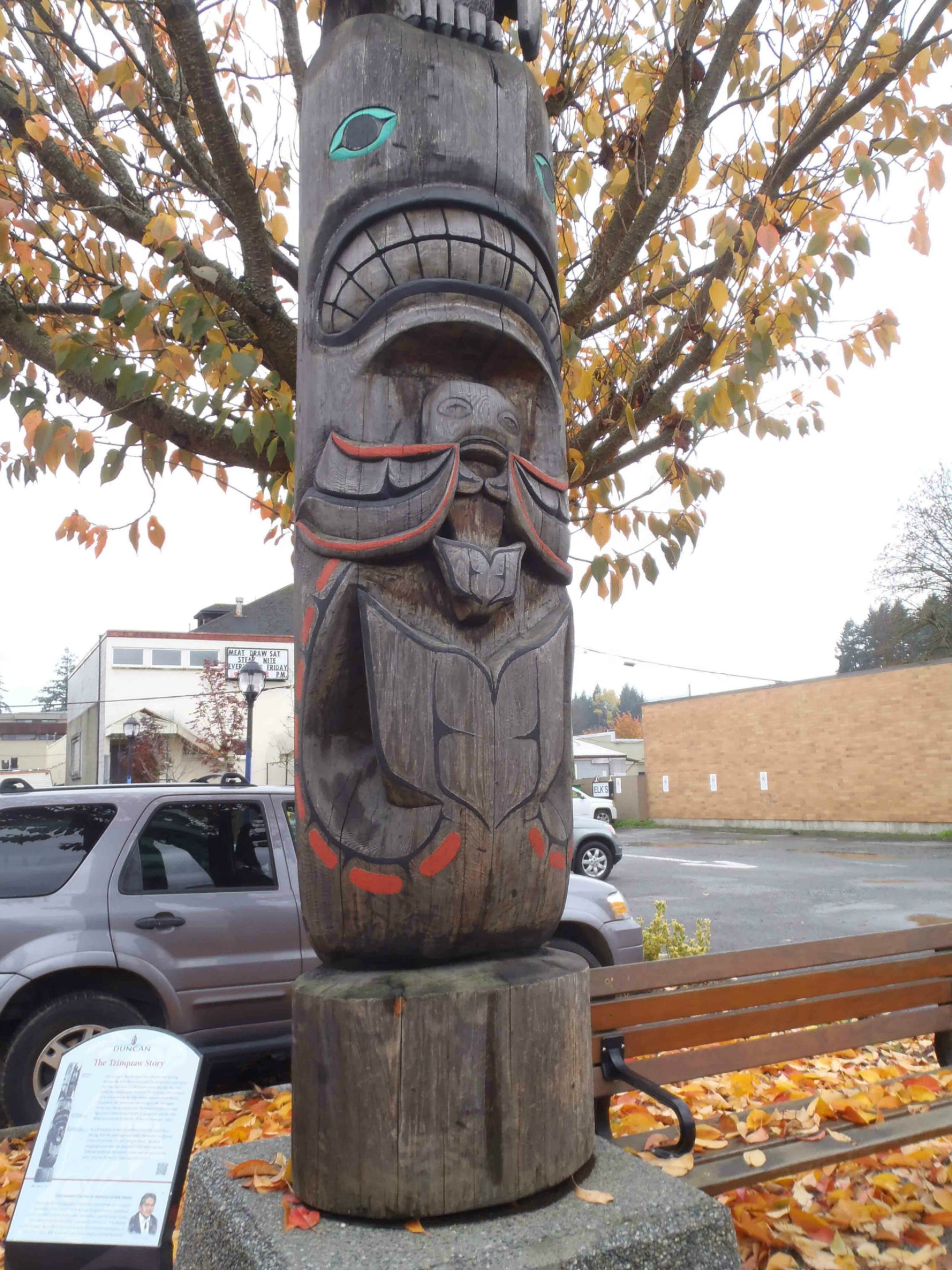 Tzinquaw Story totem pole, Killer Whale and Salmon figures, Kenneth Street, Duncan, B.C.