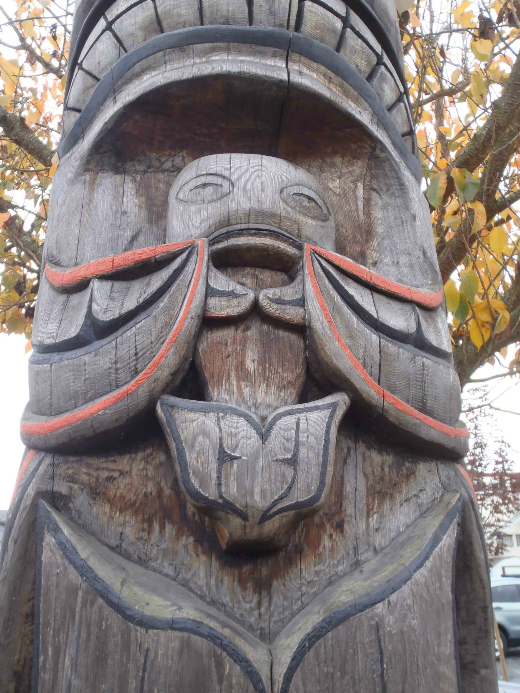 Tzinquaw Story totem pole, Salmon figure, Kenneth Street, Duncan, B.C.
