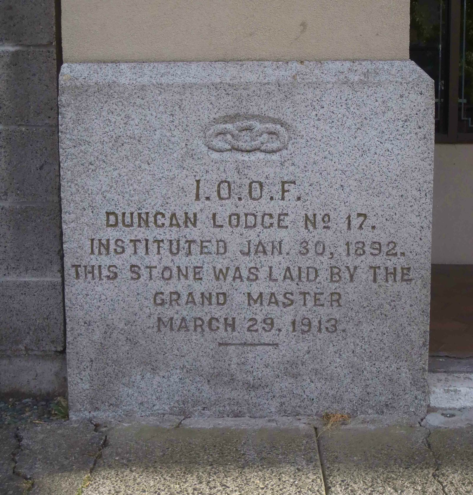 I.O.O.F. Cornerstone of Whittome Building, Station Street, Duncan, B.C.