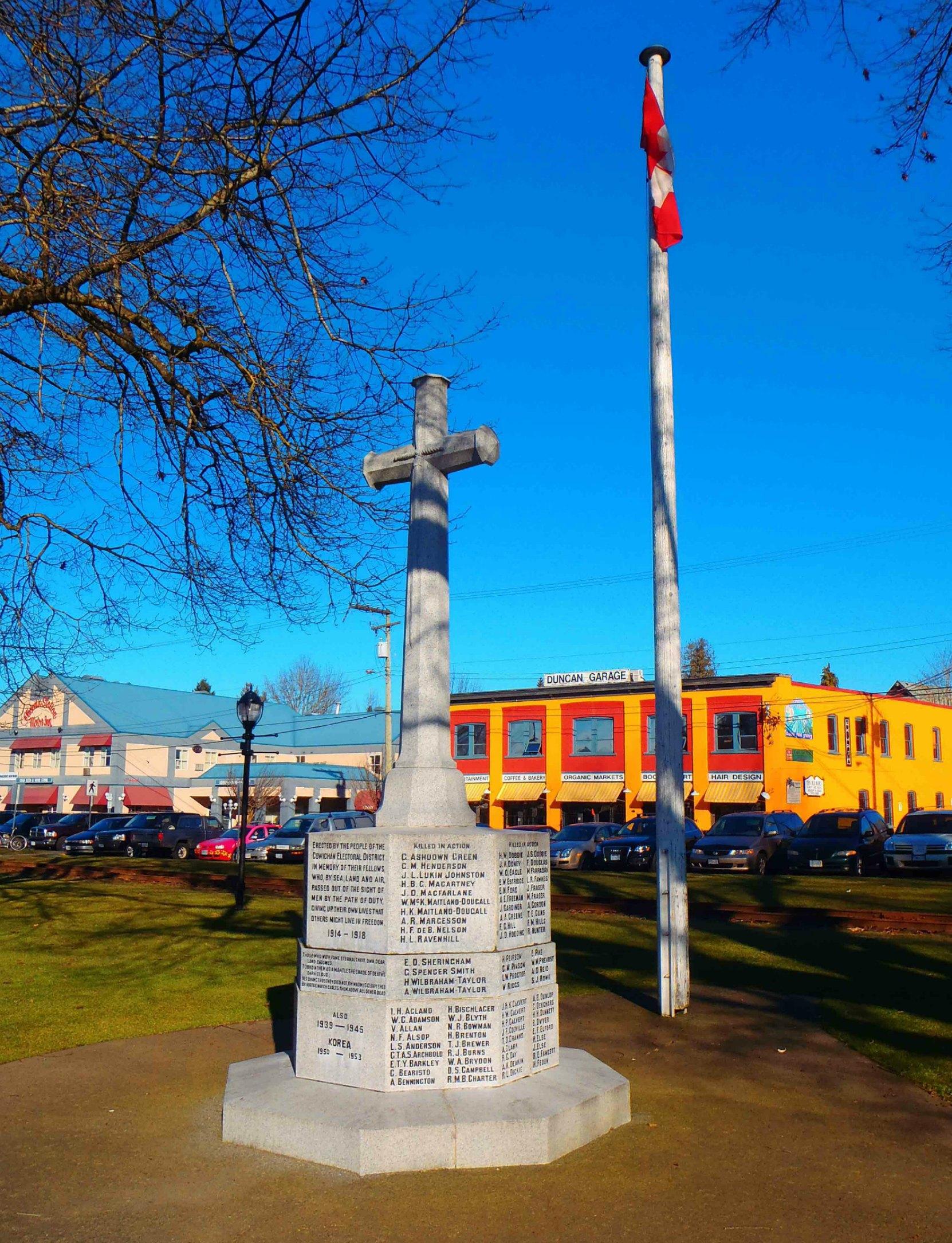 Cenotaph, Charles Hoey Park, Canada Avenue, Duncan, B.C.