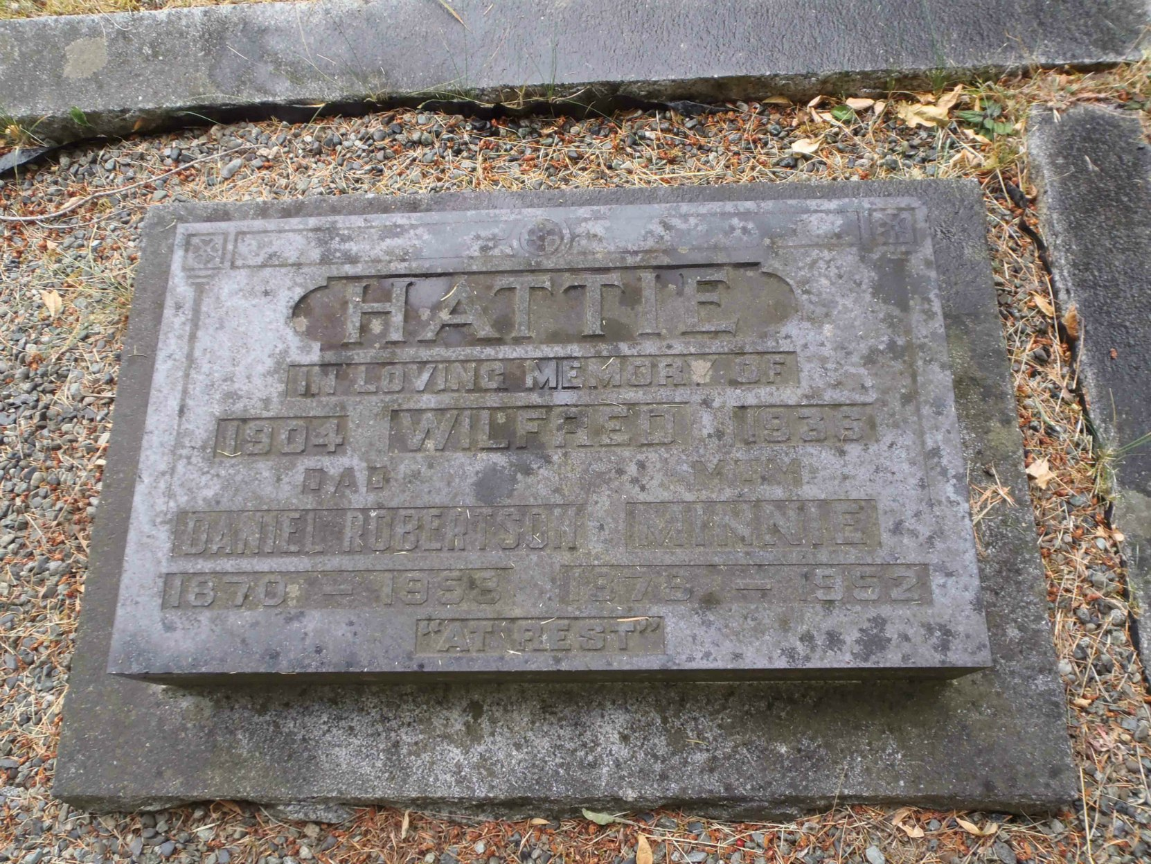 Daniel Robertson & Minnie Hattie grave marker, Mountain View Cemetery, Somenos Road, North Cowichan.