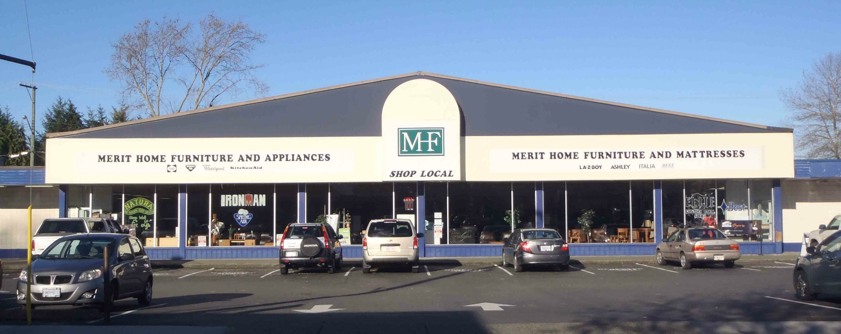 The Merit Home Furniture store, 107 Ingram Street. The building was originally built in 1967 at a Shop Easy grocery store.