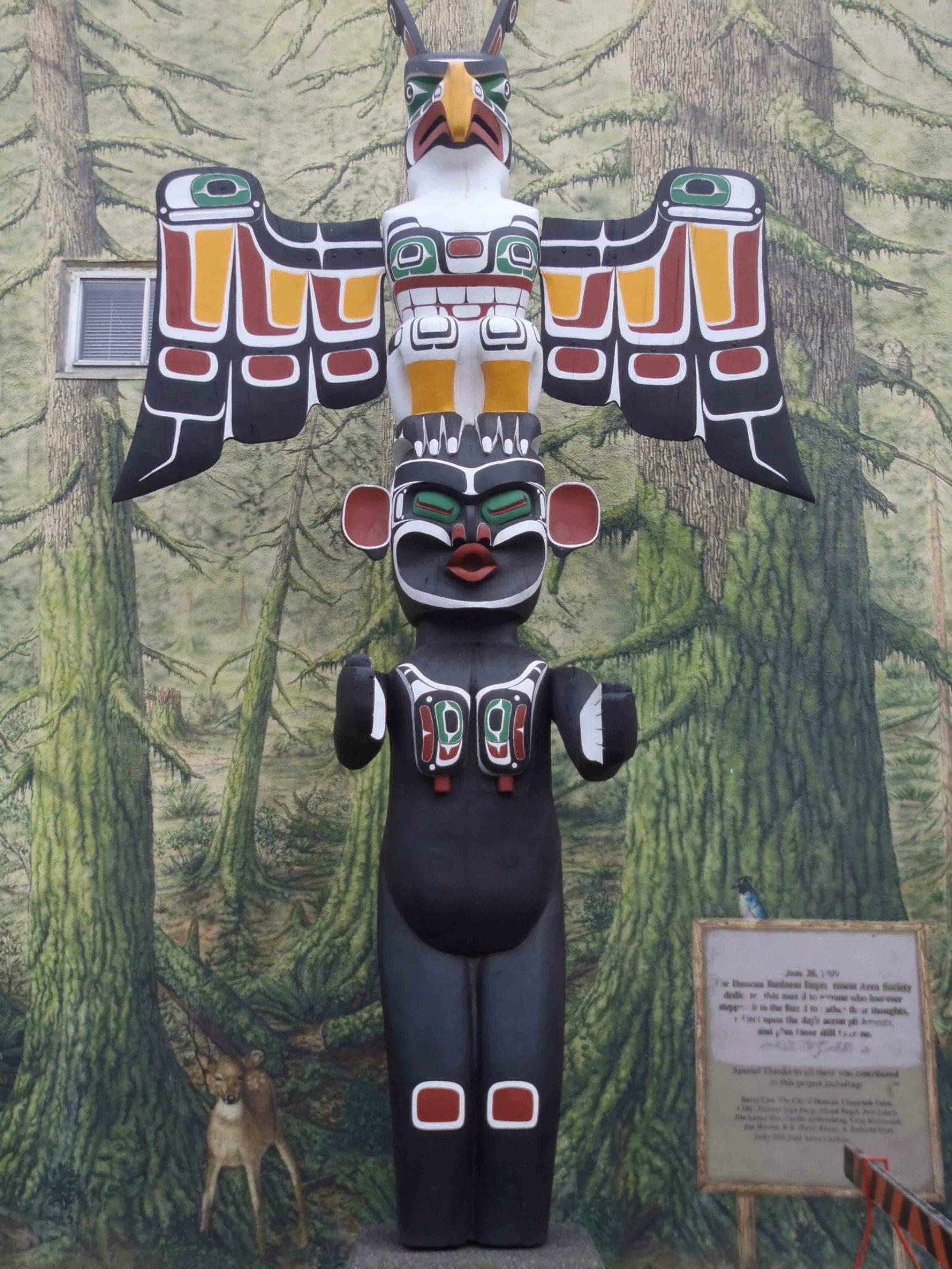 Thunderbird and Dzunuk'wa totem pole, Station Street at Craig Street, Duncan, B.C.