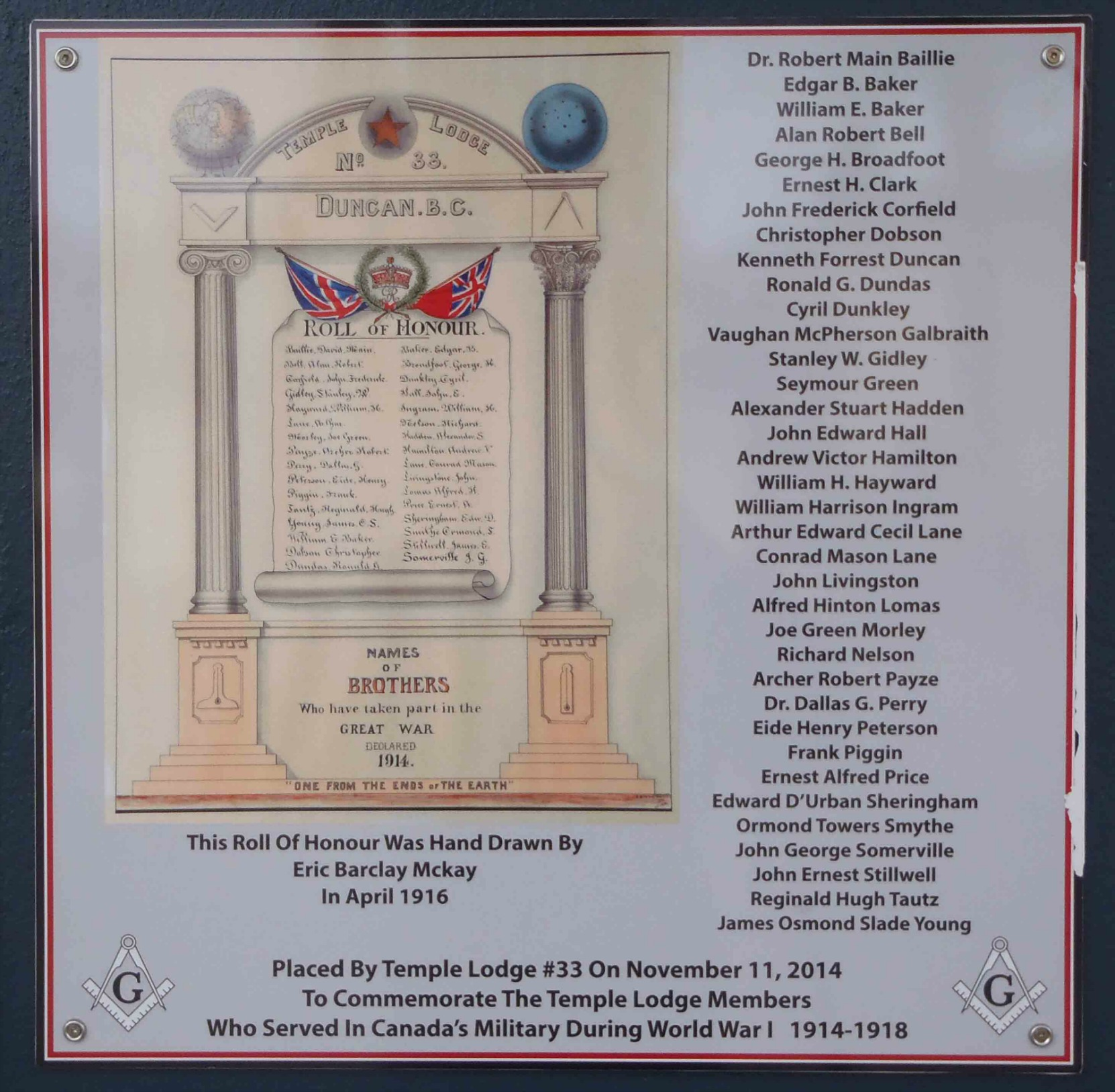 World War 1 Memorial Plaque at entrance to Duncan Masonic Temple, 163 Canada Avenue
