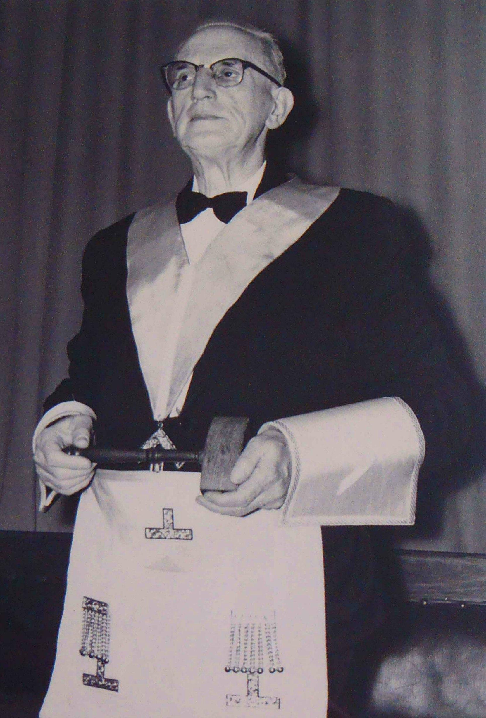 William Bruce Powel, of Powel's Mens' Wear, in Masonic regalia, circa 1958