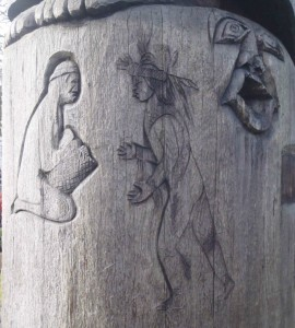 Cedar Woman and Man totem pole, carving detail