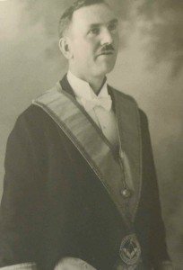 Hugh George Savage (1882-1957) owner, editor and publisher of the Cowichan Leader newspaper - in Masonic regalia, circa 1923