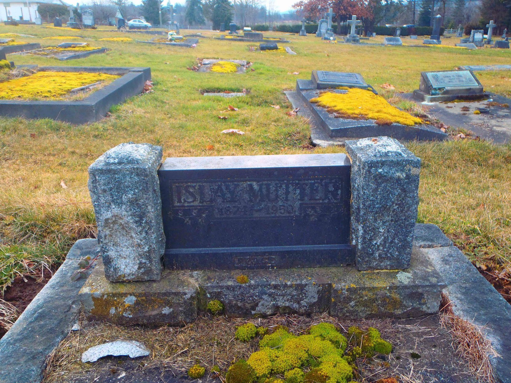 J. Islay Mutter headstone, St. Mary's Somenos Anglican Cemetery, North Cowichan