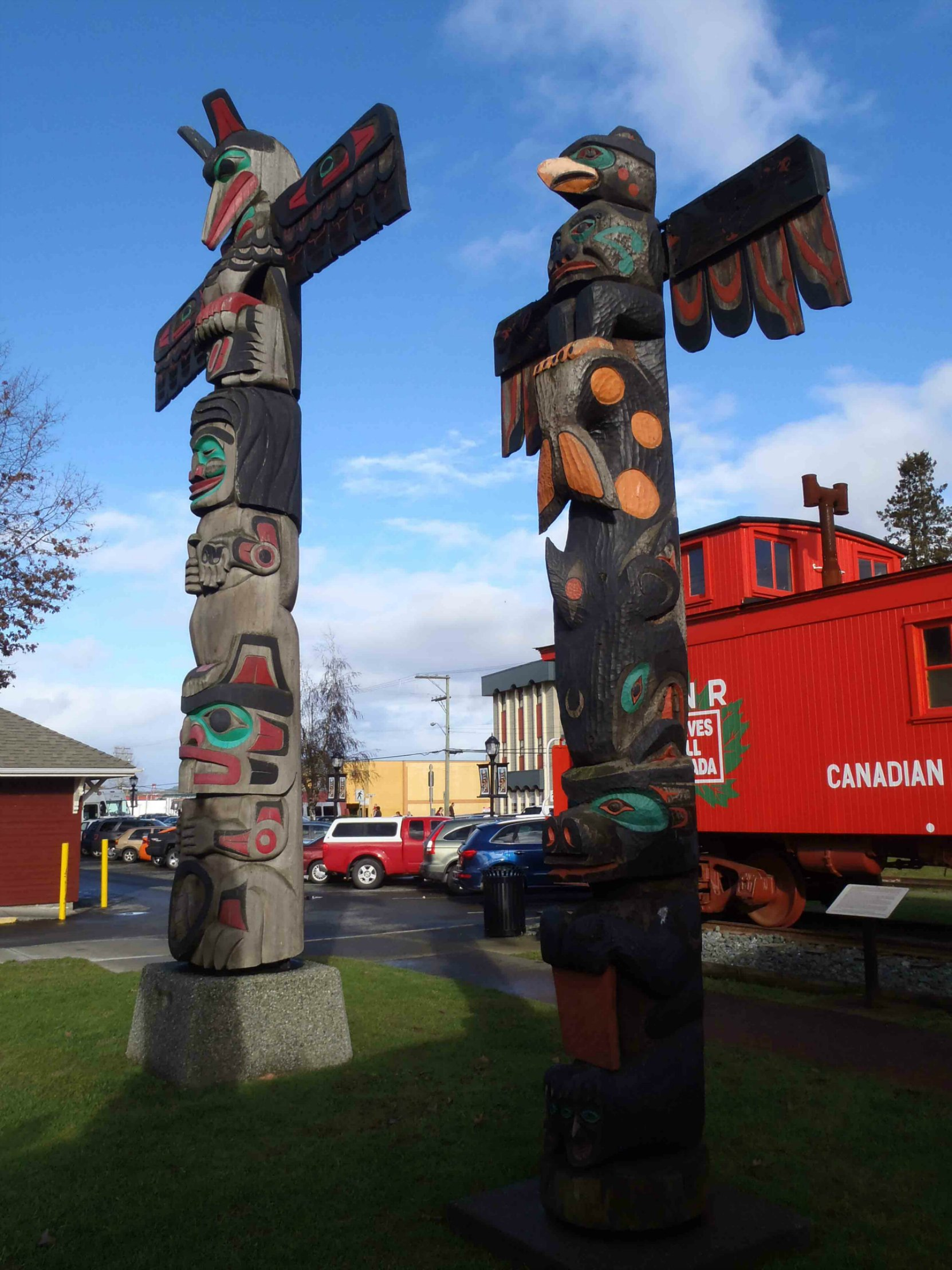 Pole of Wealth (right), Canada Avenue, Duncan, B.C.
