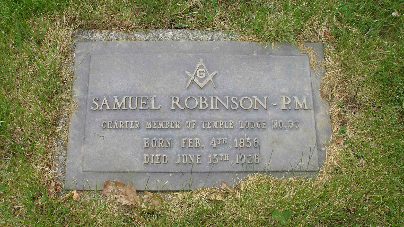 Samuel Robinson grave marker, St. Mary's Somenos Anglican cemetery, Somenos Road, North Cowichan