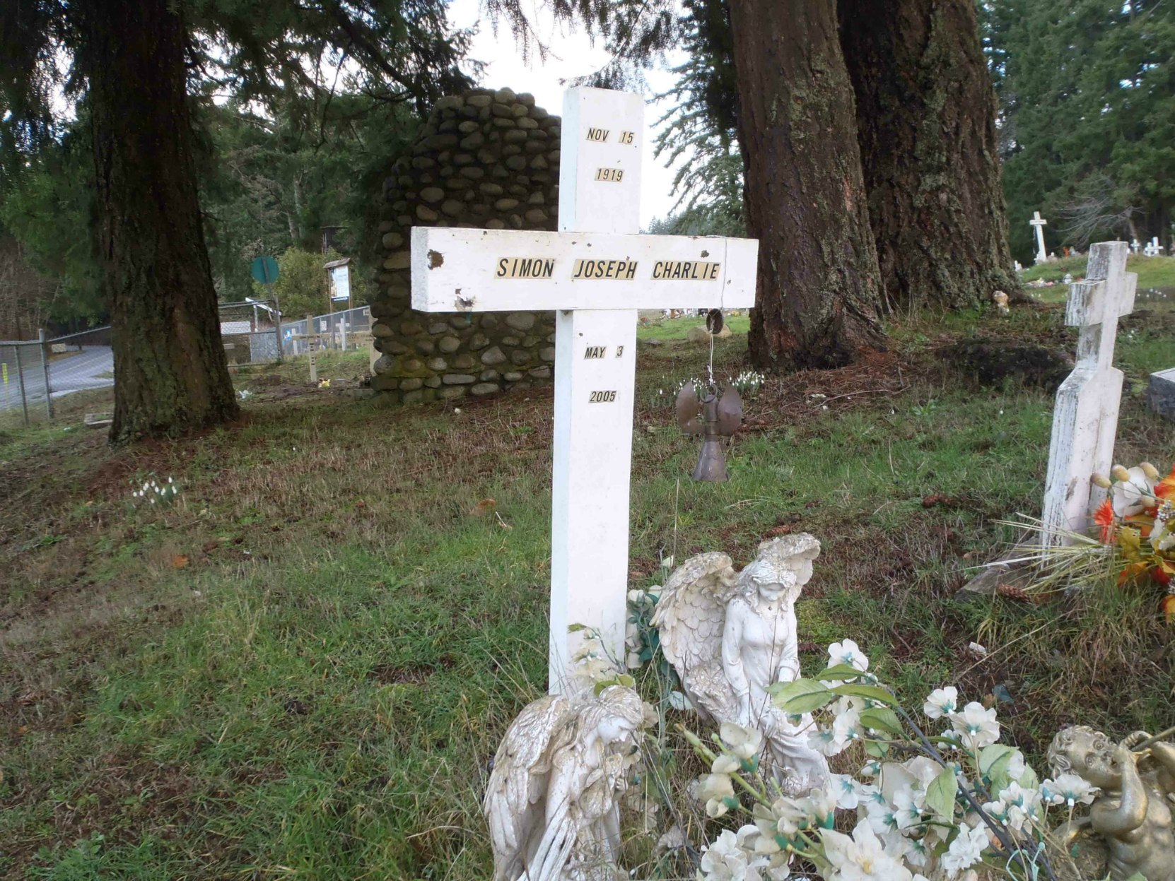 Simon Charlie's grave in the cemetery of St. Ann's Catholic Church, on Tzouhalem Road, east of Duncan.