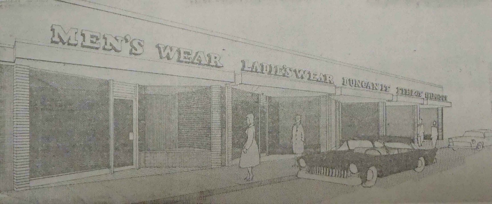 1959 pre-construction drawing of the building at 33-53 Station Street.