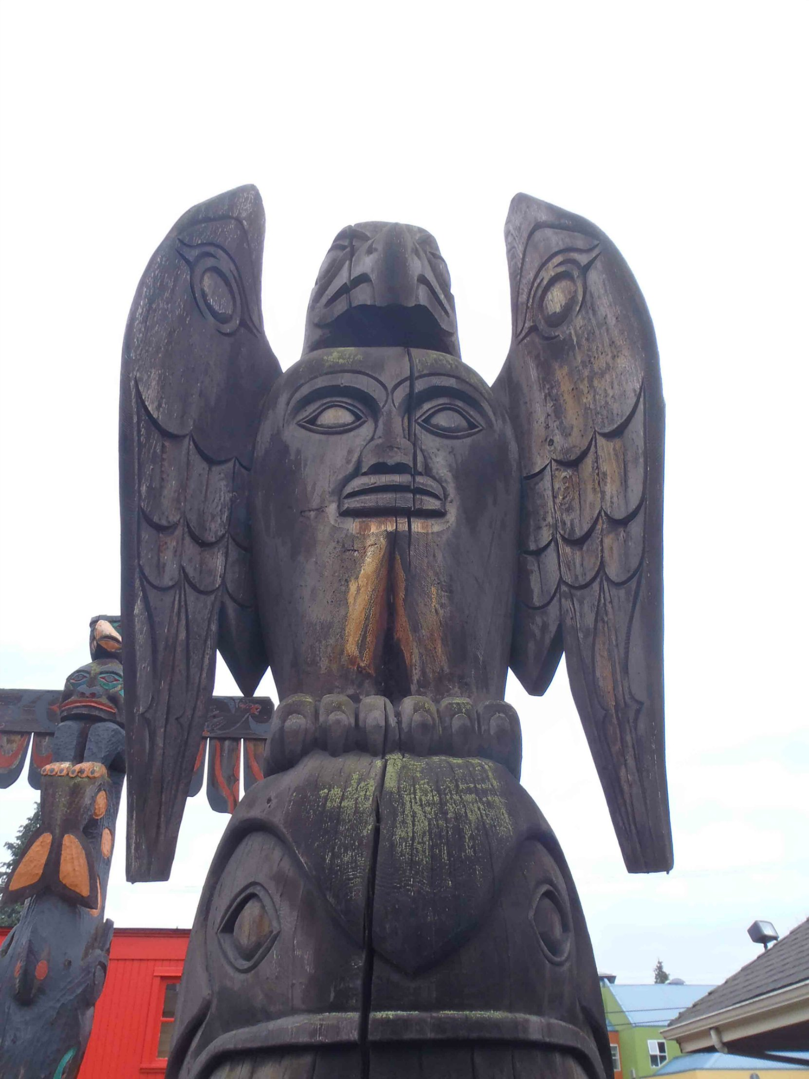 Transformation totem pole, Bald eagle figure - Canada Avenue, Duncan
