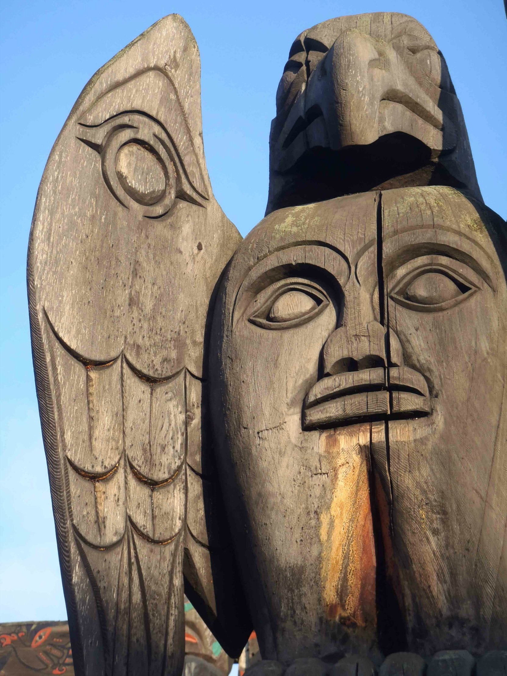 Transformation pole, Eagle and Spirit figures, wing detail, Canada Avenue between Station Street and Kenneth Street