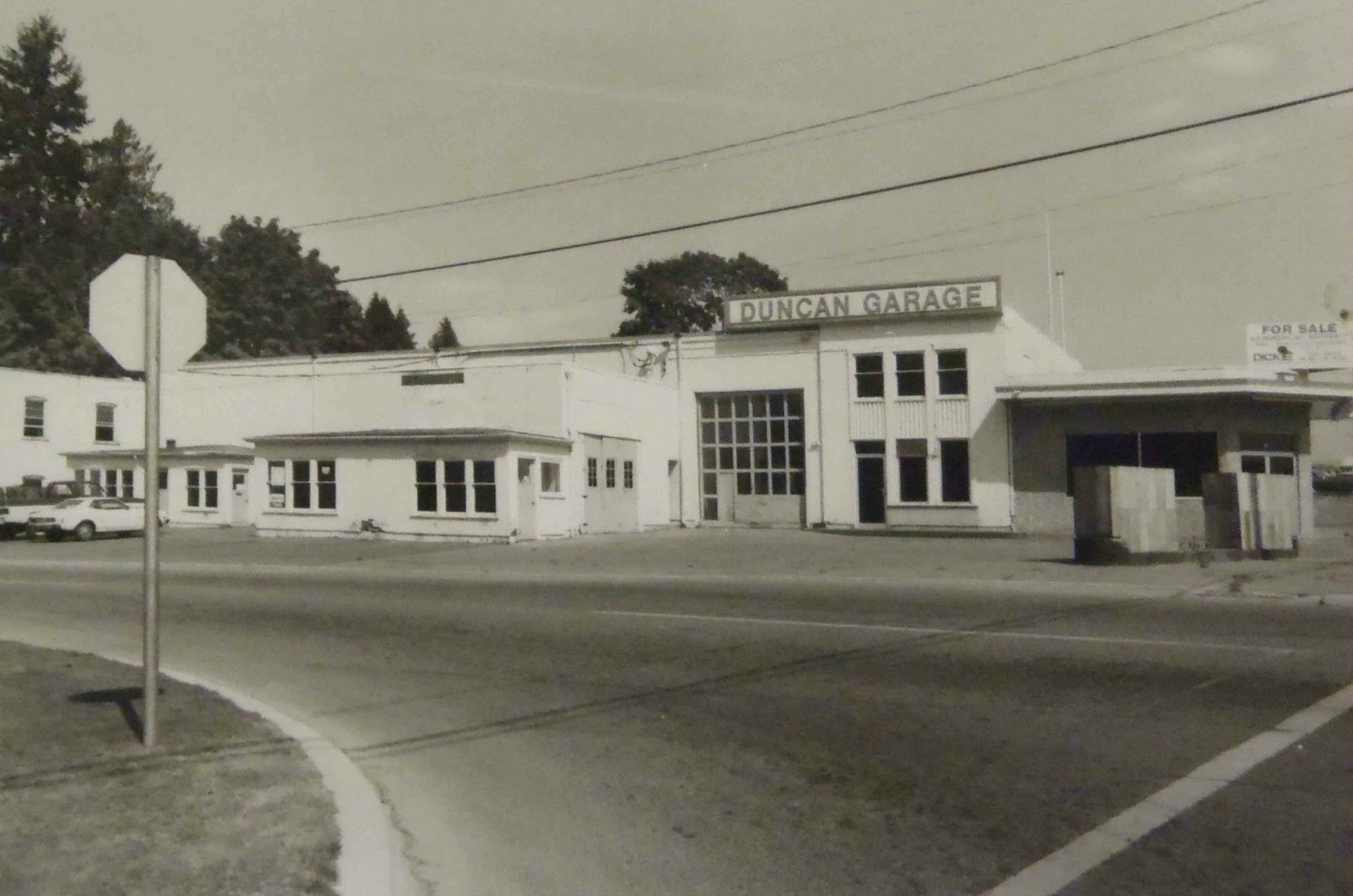 Duncan Garage, circa 1983. This photo was taken shortly after Duncan Garage Ltd. closed this location.