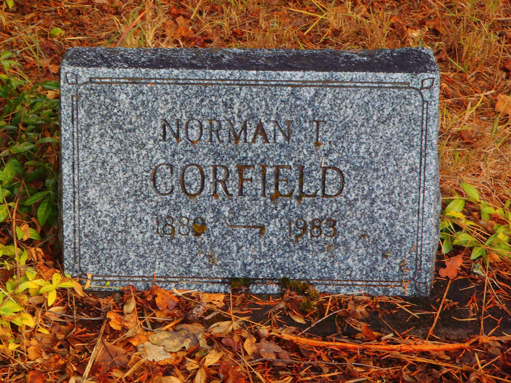 Norman Tressidor Corfield (1889-1983) headstone, St. Peter's Quamichan Anglican Cemetery, North Cowichan, B.C.