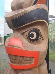 Scudder Pole, Bear figure, face detail, Station Street at Craig Street, Duncan