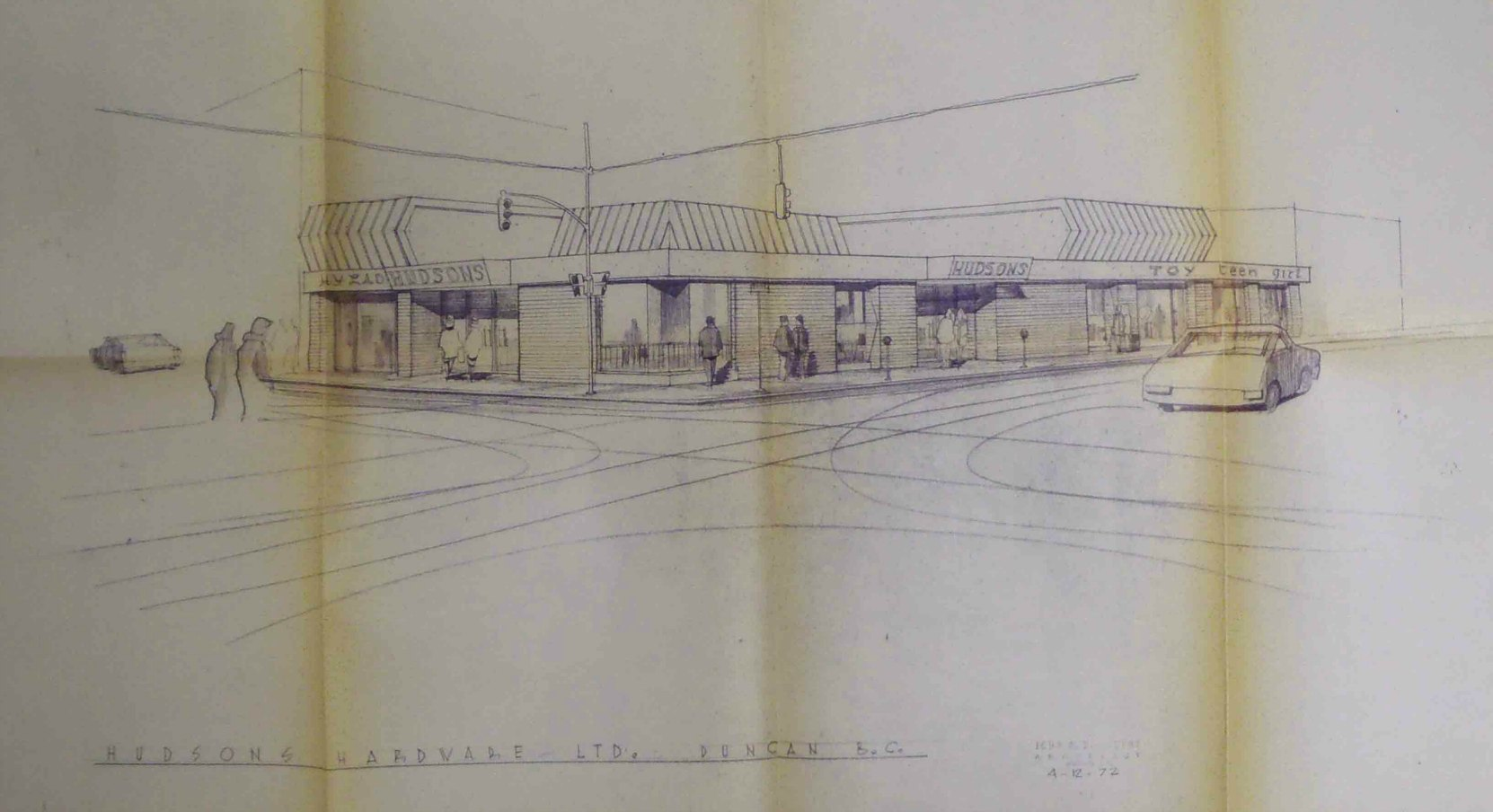 Architect John Di Castri's 1972 drawing of the proposed replacement for the building at 101 Station Street