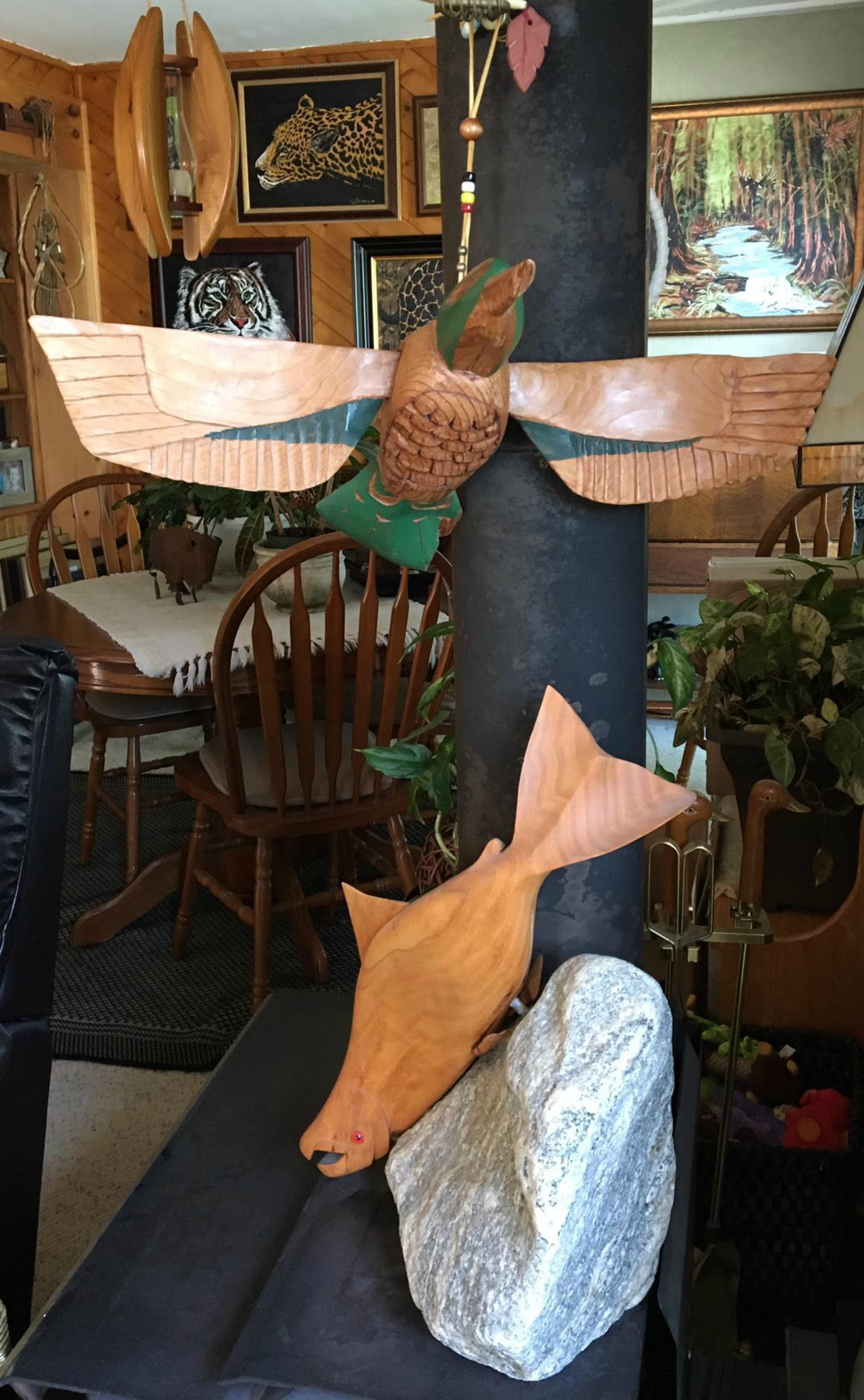 Carol Sanders provided us with this photo of a Simon Charlie Hummingbird carving she purchased from Simon Charlie in the 1990's. The Salmon carving is by John Sanders. (photo: Carol Sanders, Blue Eagle Gallery, used with permission)